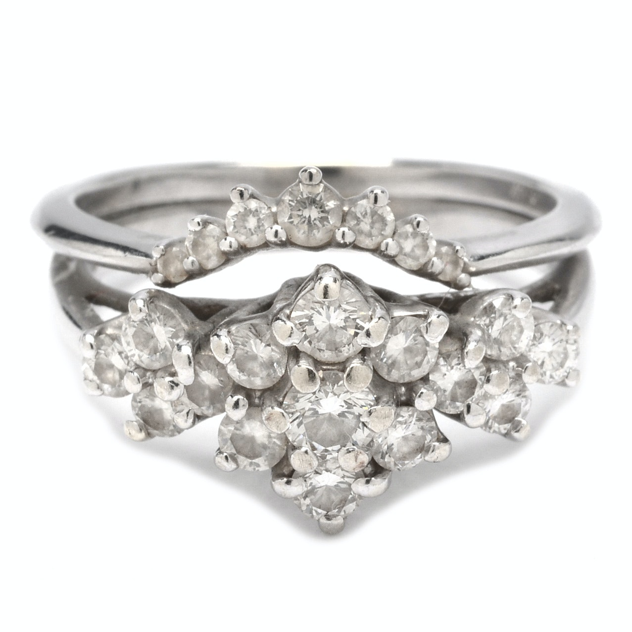 14K White Gold Diamond Ring with Diamond Enhancer
