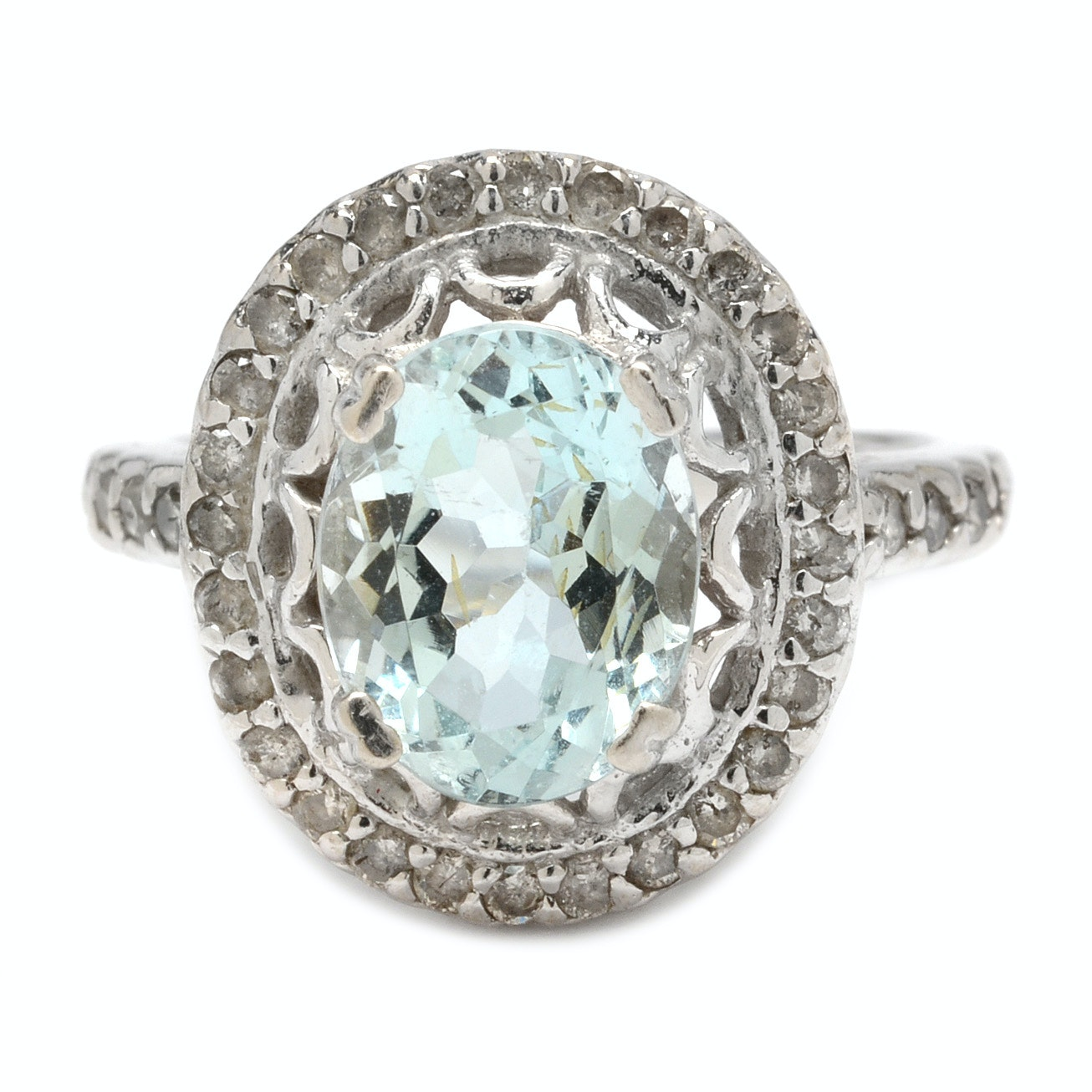 14K White Gold Aquamarine and Diamond Ring