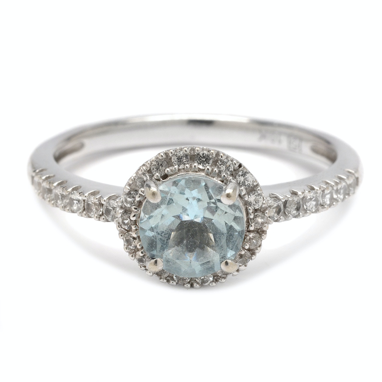 10K White Gold Aquamarine and White Sapphire Ring