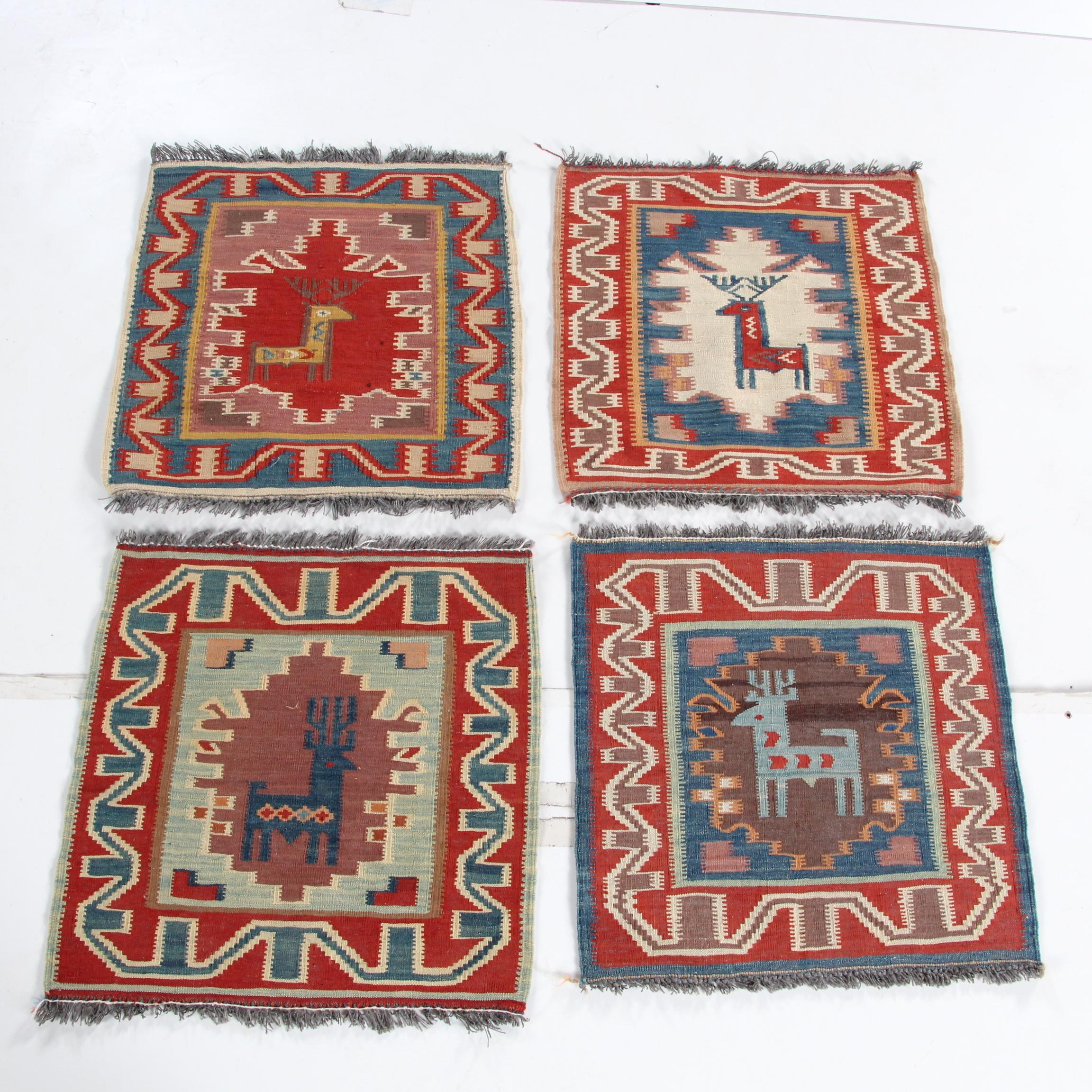 Handwoven Pictorial Wool Kilim Mats