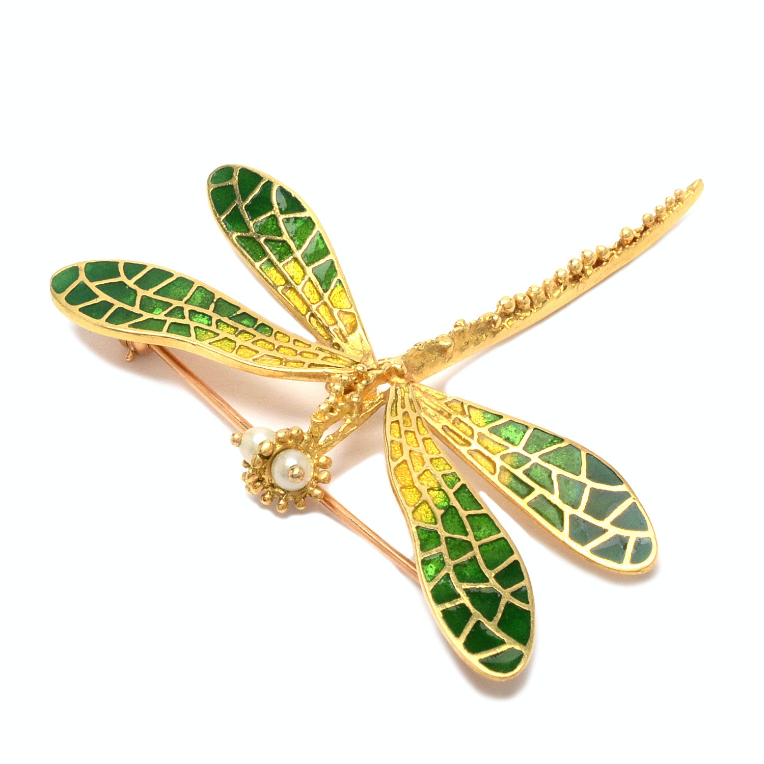 18K Yellow Gold  Dragonfly Brooch with Pearls