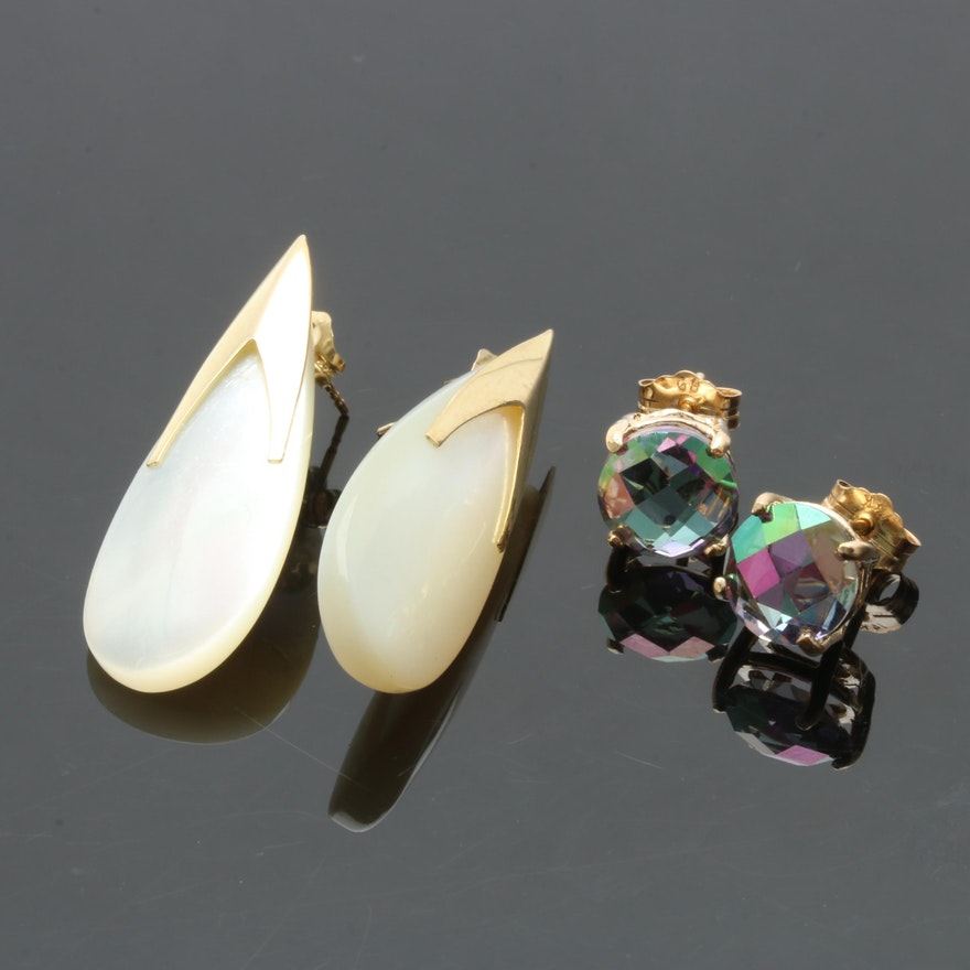 14k Yellow Gold Mother Of Pearl And Mystic Topaz Stud Earrings