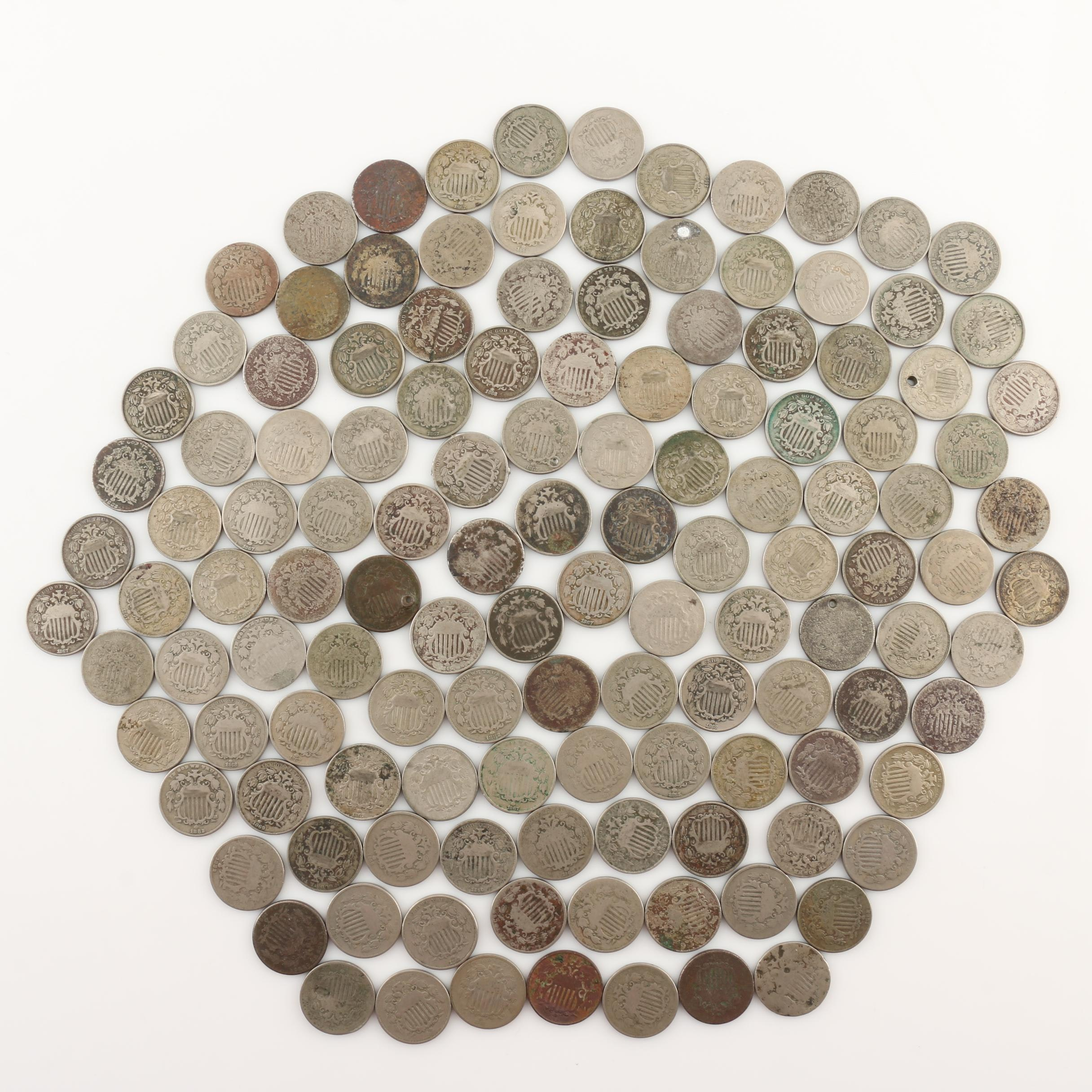Group of 128 Shield Nickels From 1866 to 1883