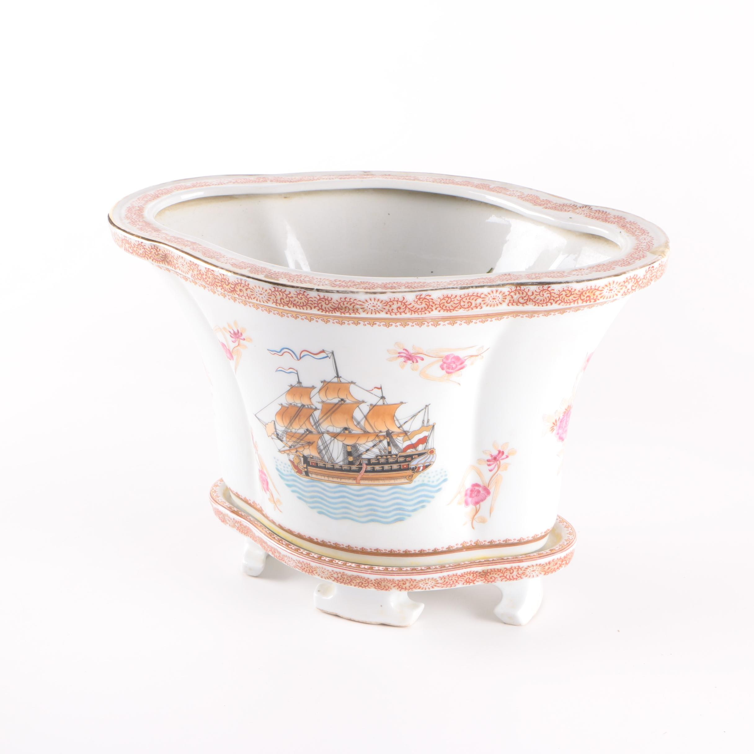 Chinese Porcelain Jardiniere with Base
