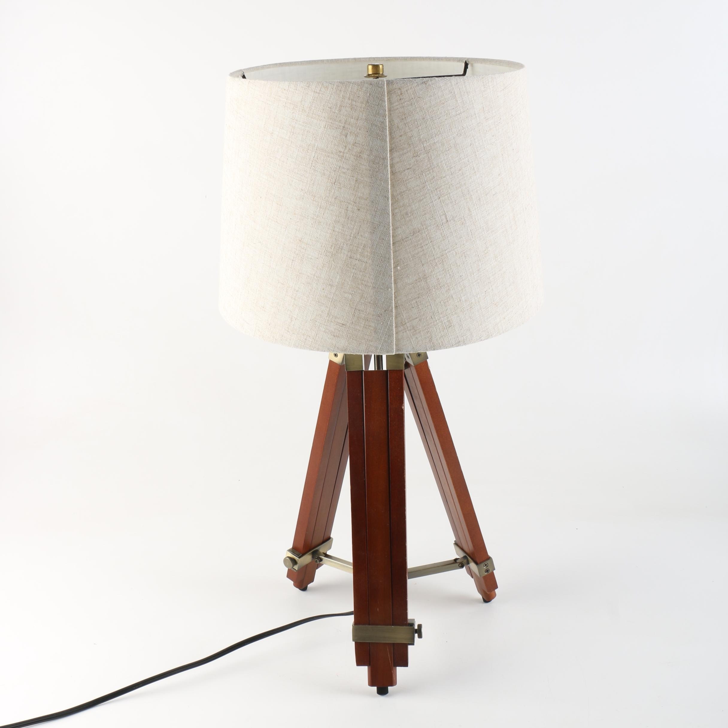 Brass And Wood Tripod Table Lamp Ebth