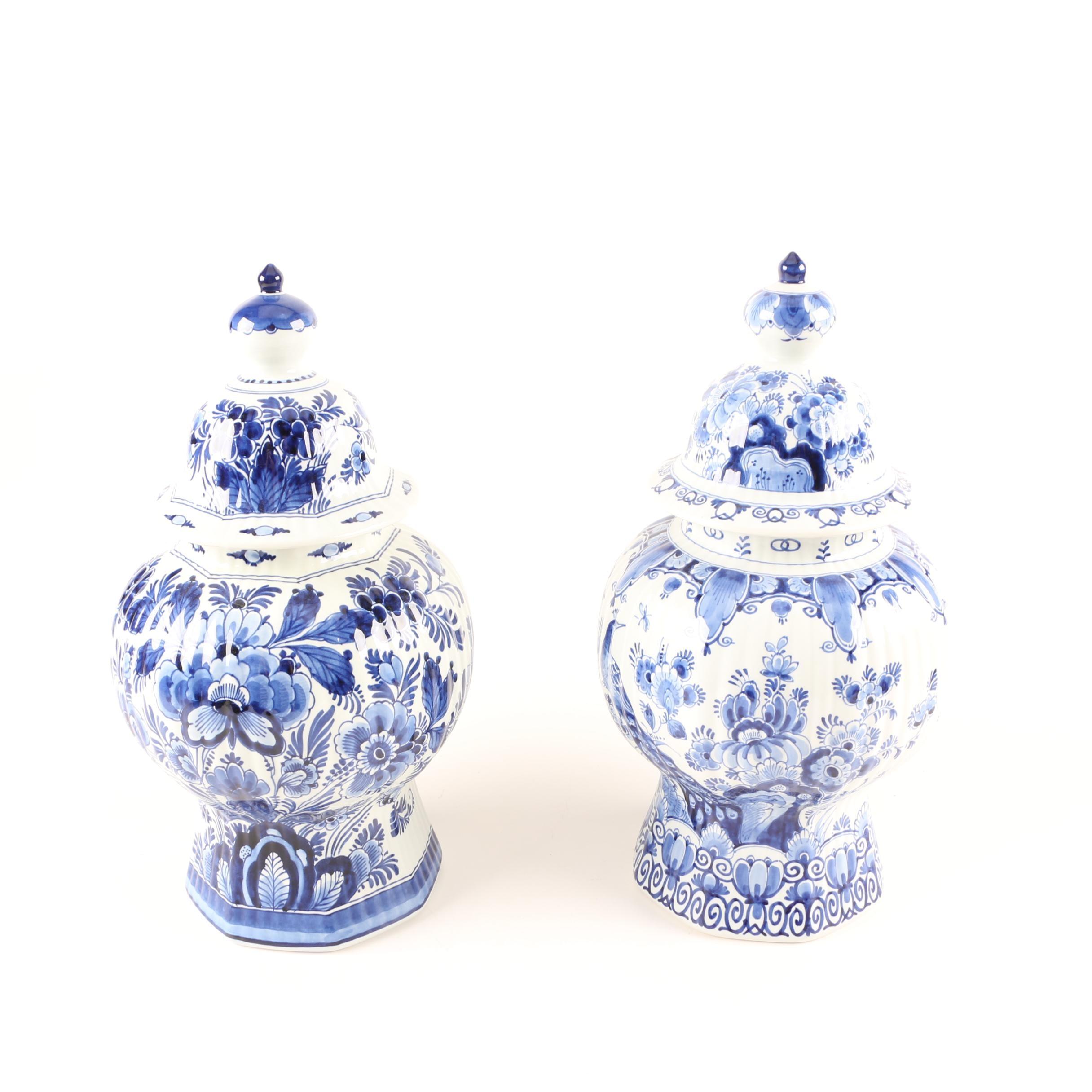 Vintage Royal Delft Earthenware Urns