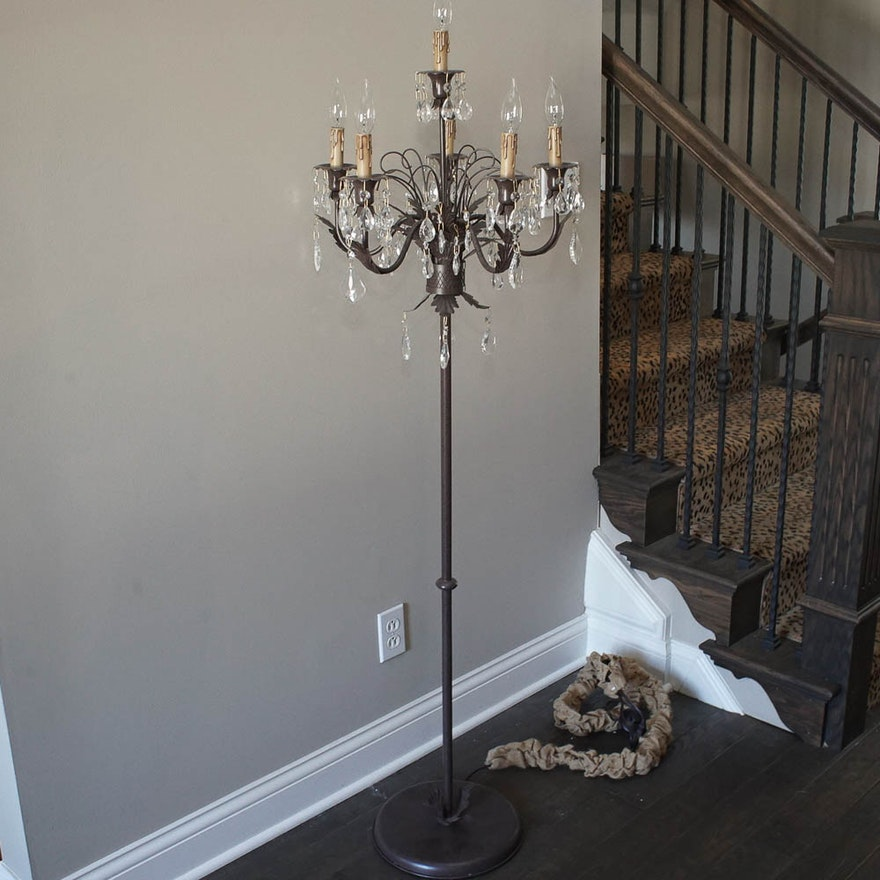Candelabra floor lamp with crystal prisms from arhaus ebth candelabra floor lamp with crystal prisms from arhaus aloadofball Image collections