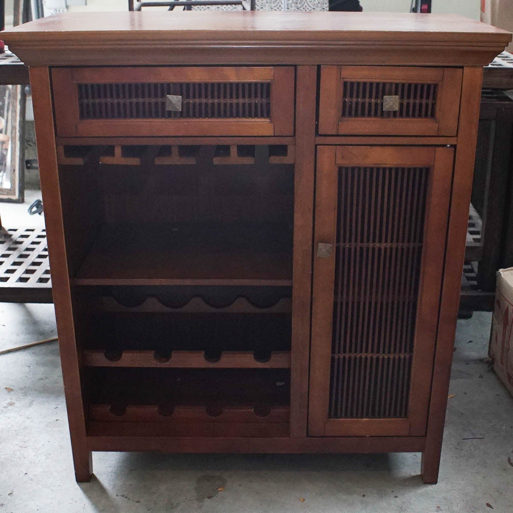 Wine rack liquor cabinet Wooden Everything But The House Contemporary Wine Rack Liquor Cabinet Ebth