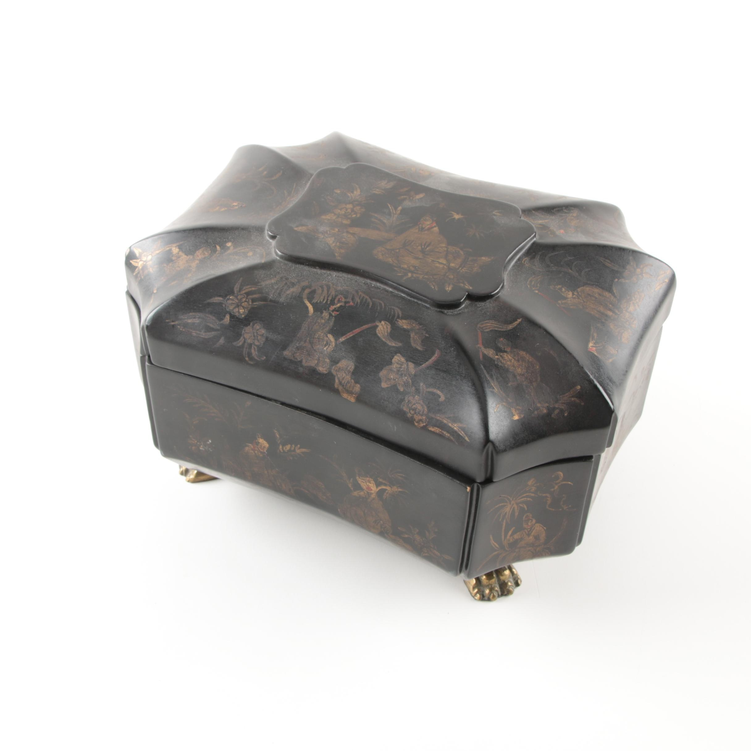 Wood Trinket Box with Claw Feet