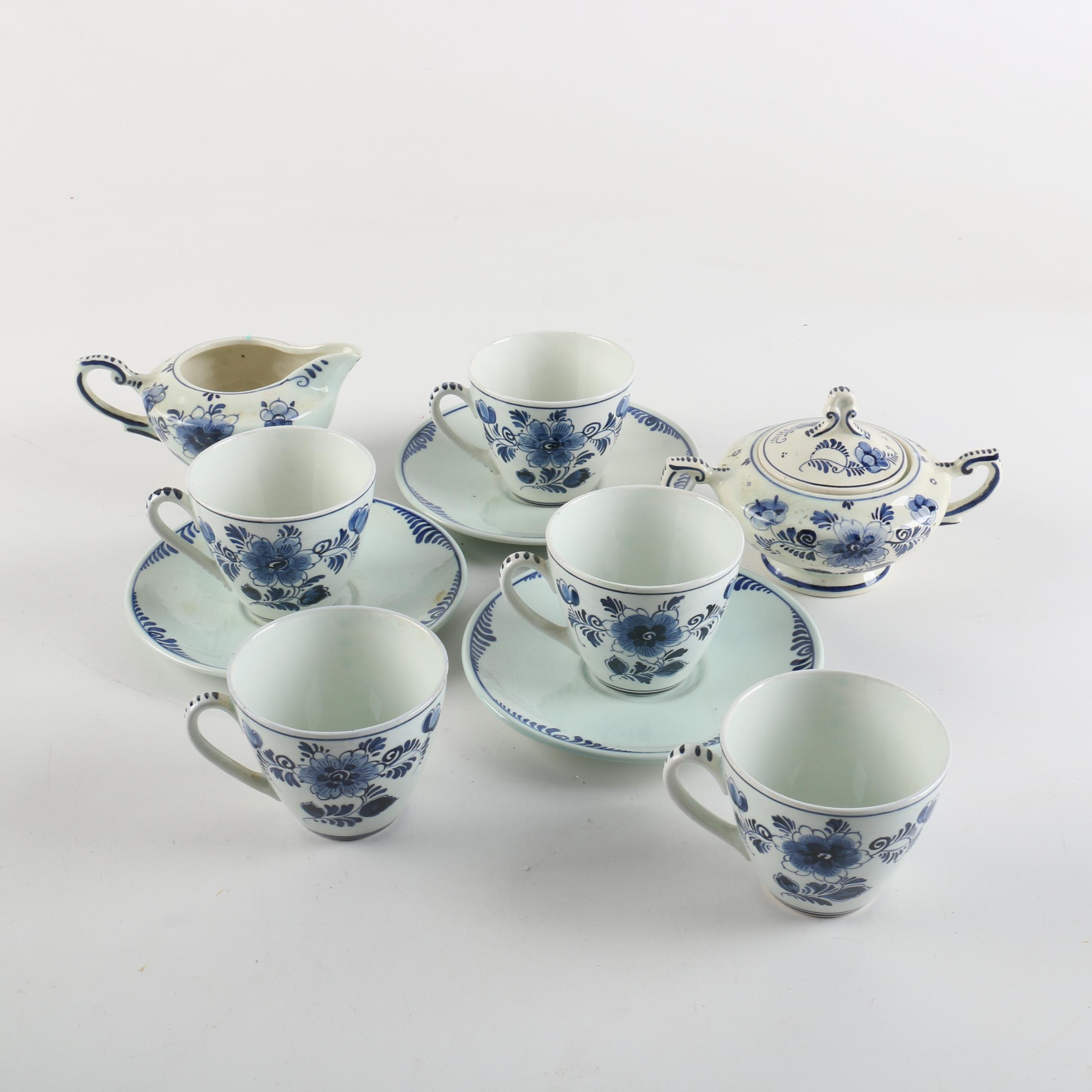 Hand-Painted Delft Earthenware Tableware