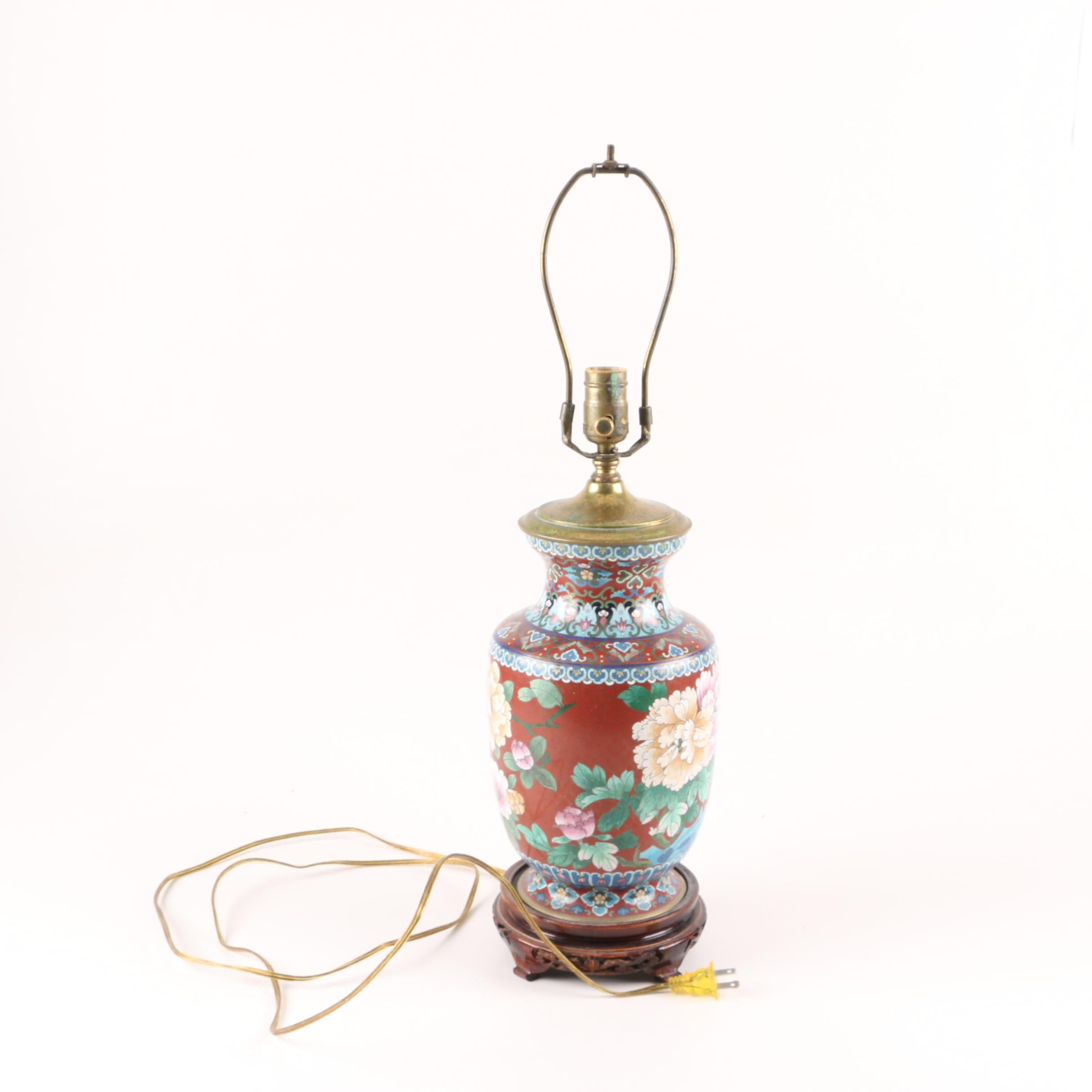 Metal Table Lamp with Painted Floral and Bird Motifs