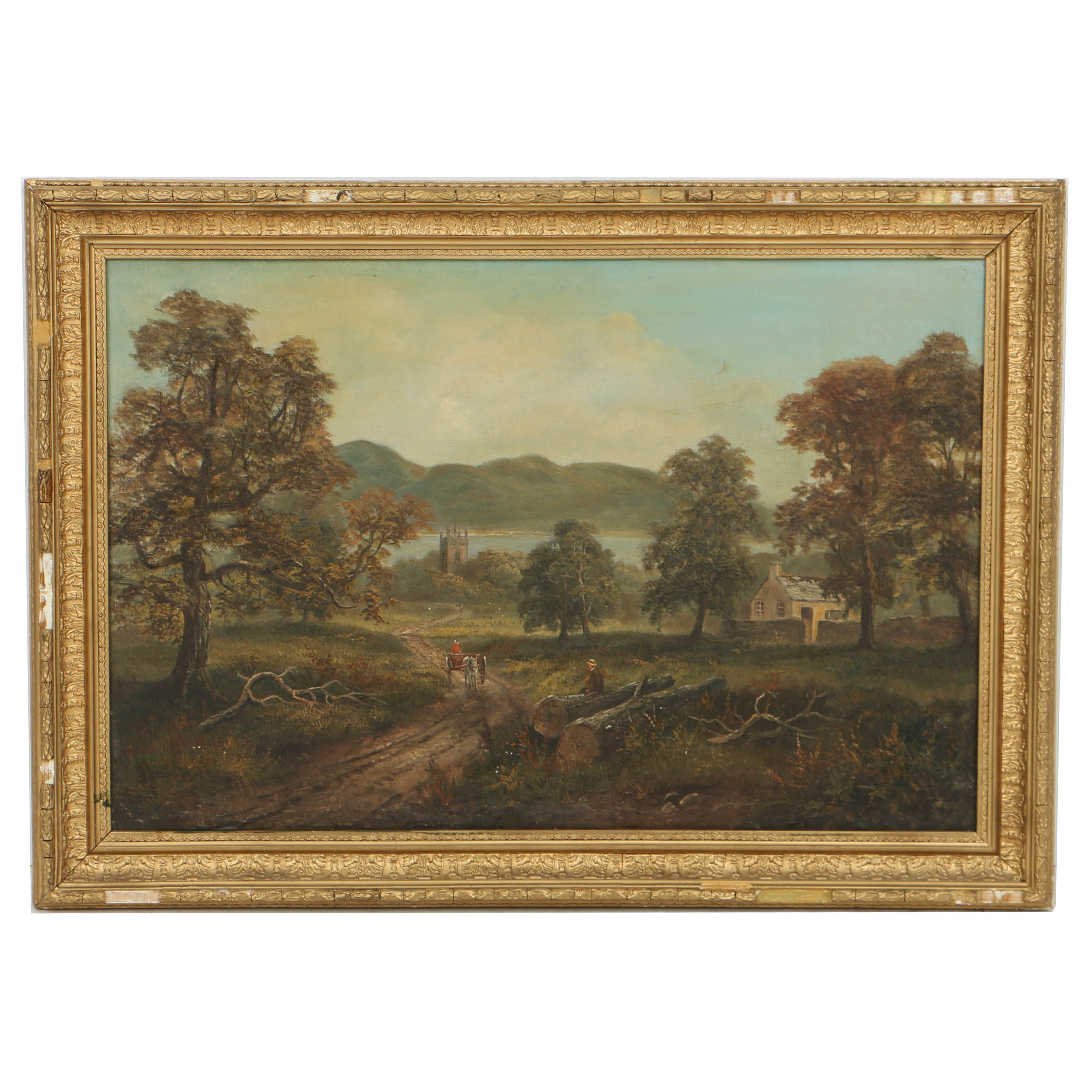 19th Century Continental School Oil Painting on Canvas Pastoral Landscape