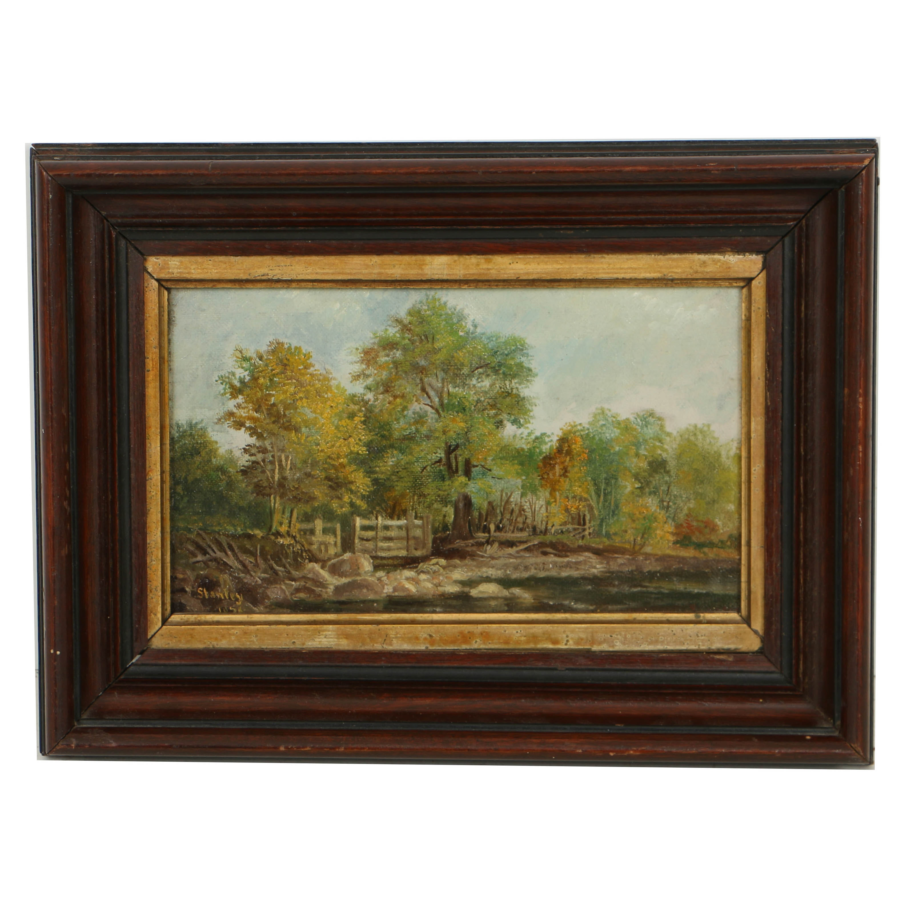 Late 19th Century Oil Painting on Canvas of Forest Landscape