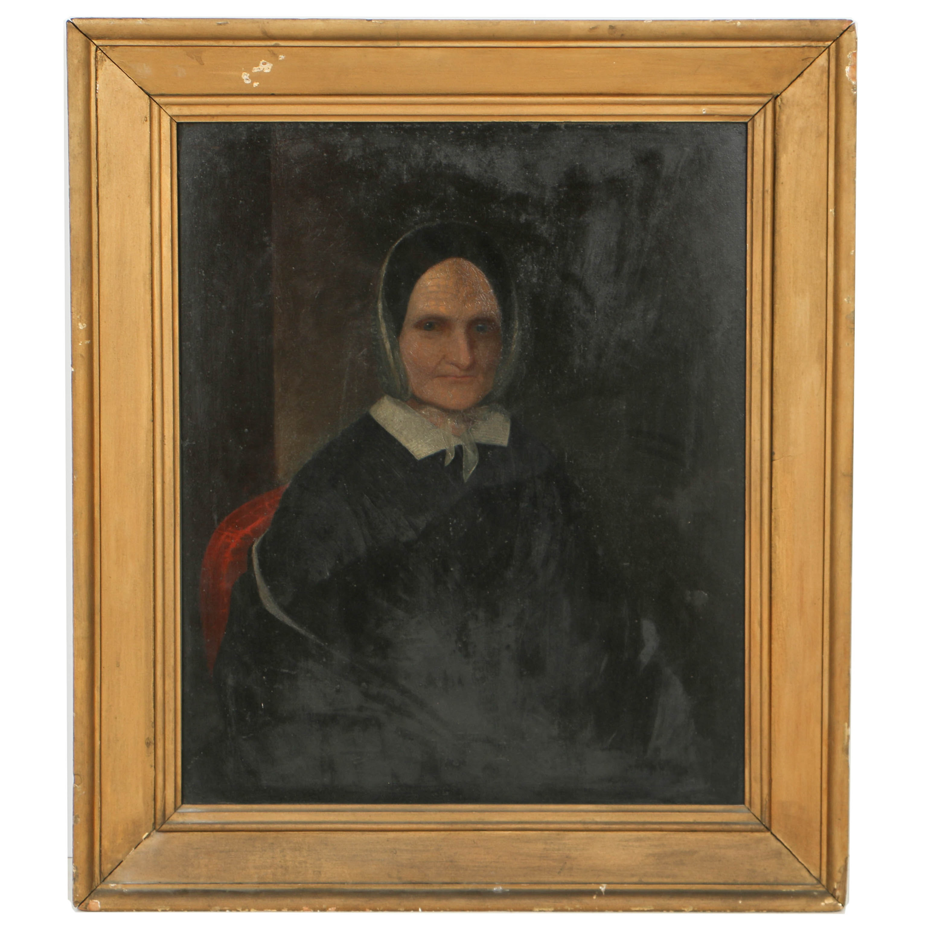 19th Century Folk Style Oil Portrait on Wood Panel of a Woman