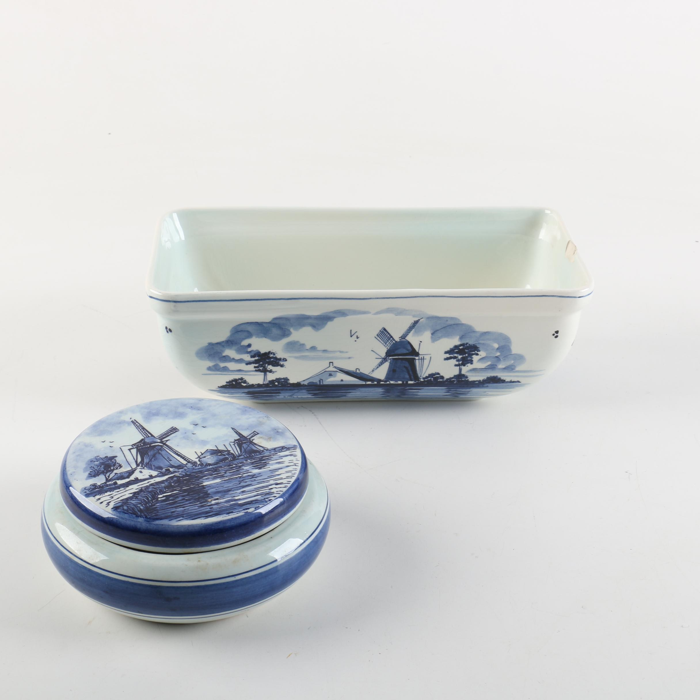 Delft Style Hand-painted Dutch Earthenware Loaf Pan and Jar