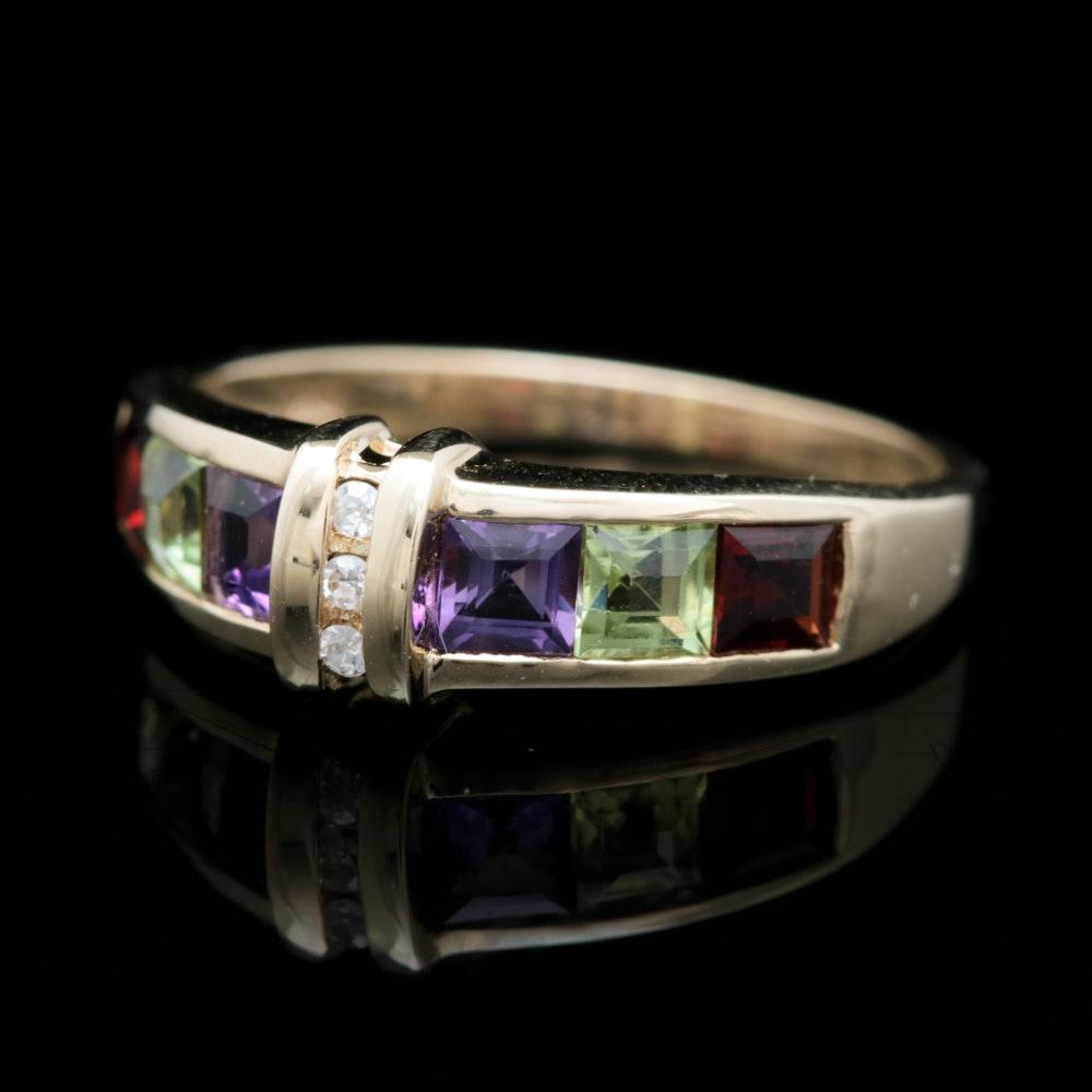 10K Yellow Gold, Diamond, Amethyst, Peridot and Garnet Ring