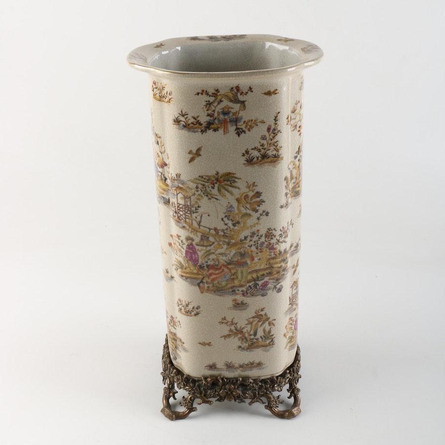 Chinese Ceramic Vase And Metal Stand Ebth