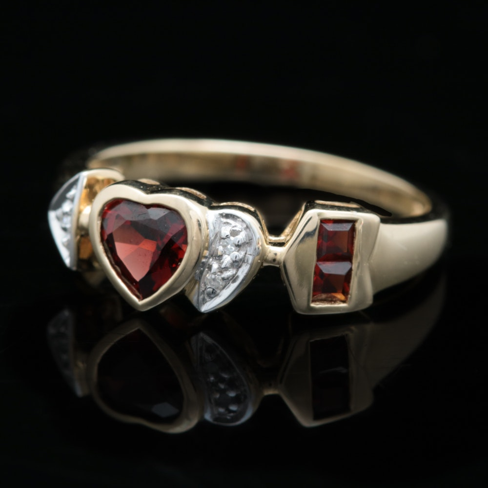 10K Yellow Gold, Garnet and Diamond Heart and Arrow Ring