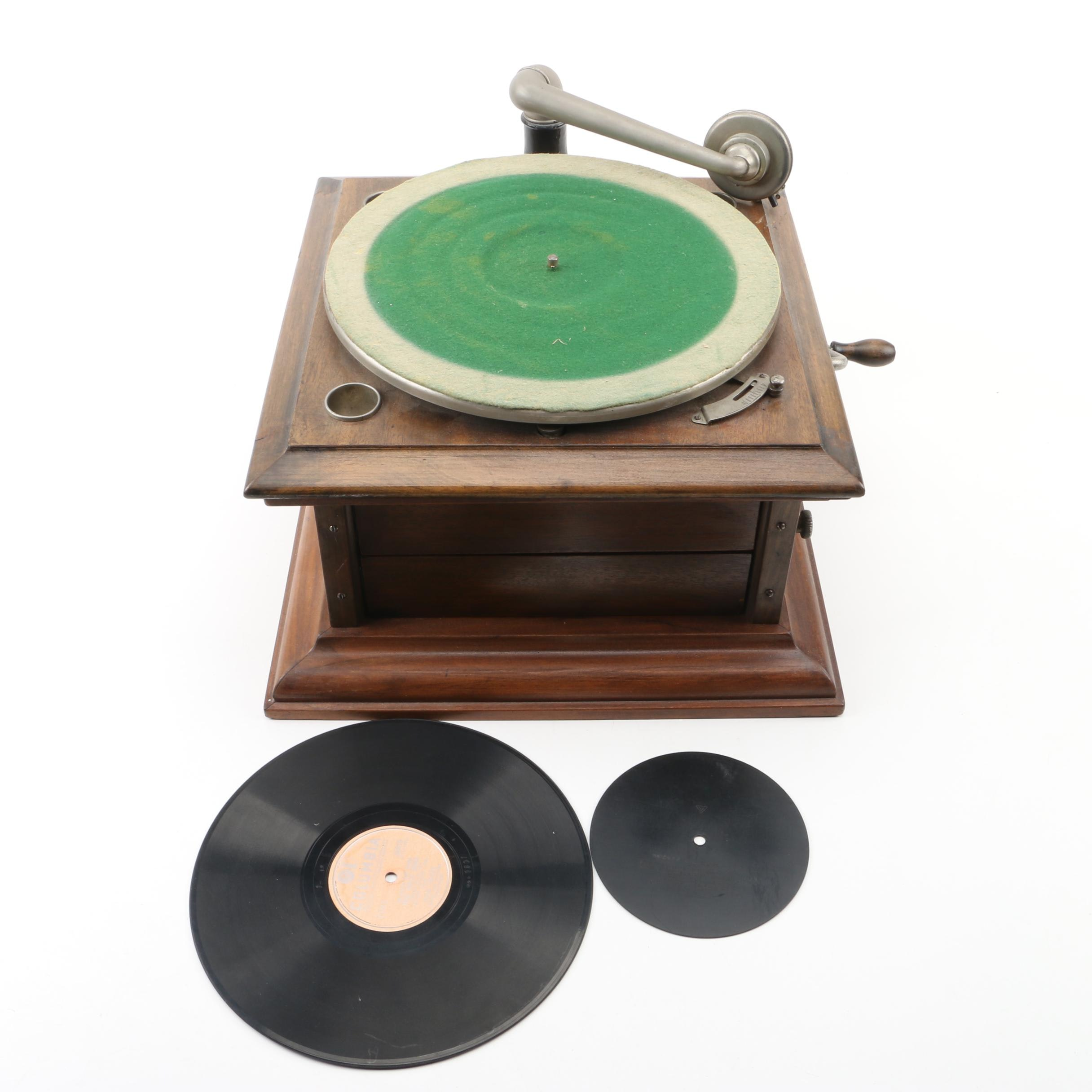 Vintage Record Player with Records
