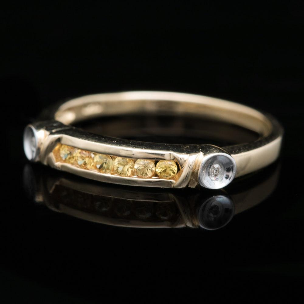 10K Yellow Gold, Yellow Sapphire and Diamond Ring