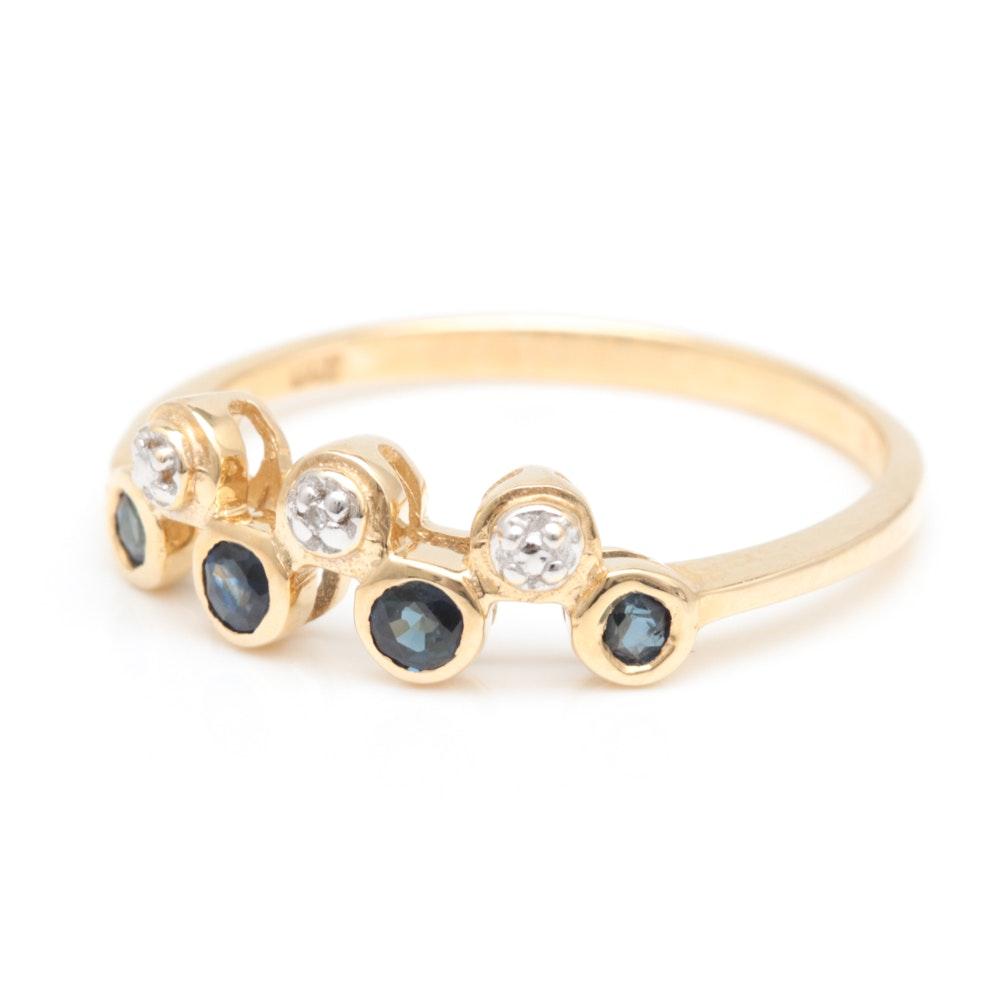 10K Yellow Gold, Blue Sapphire and Diamond Ring
