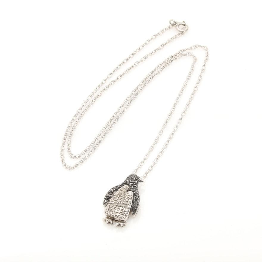 Sterling silver diamond penguin pendant necklace ebth sterling silver diamond penguin pendant necklace mozeypictures Images