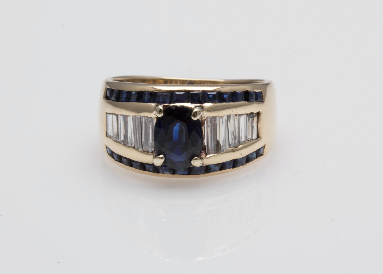 14K Yellow Gold 1.15 CTW Sapphire and Diamond Ring