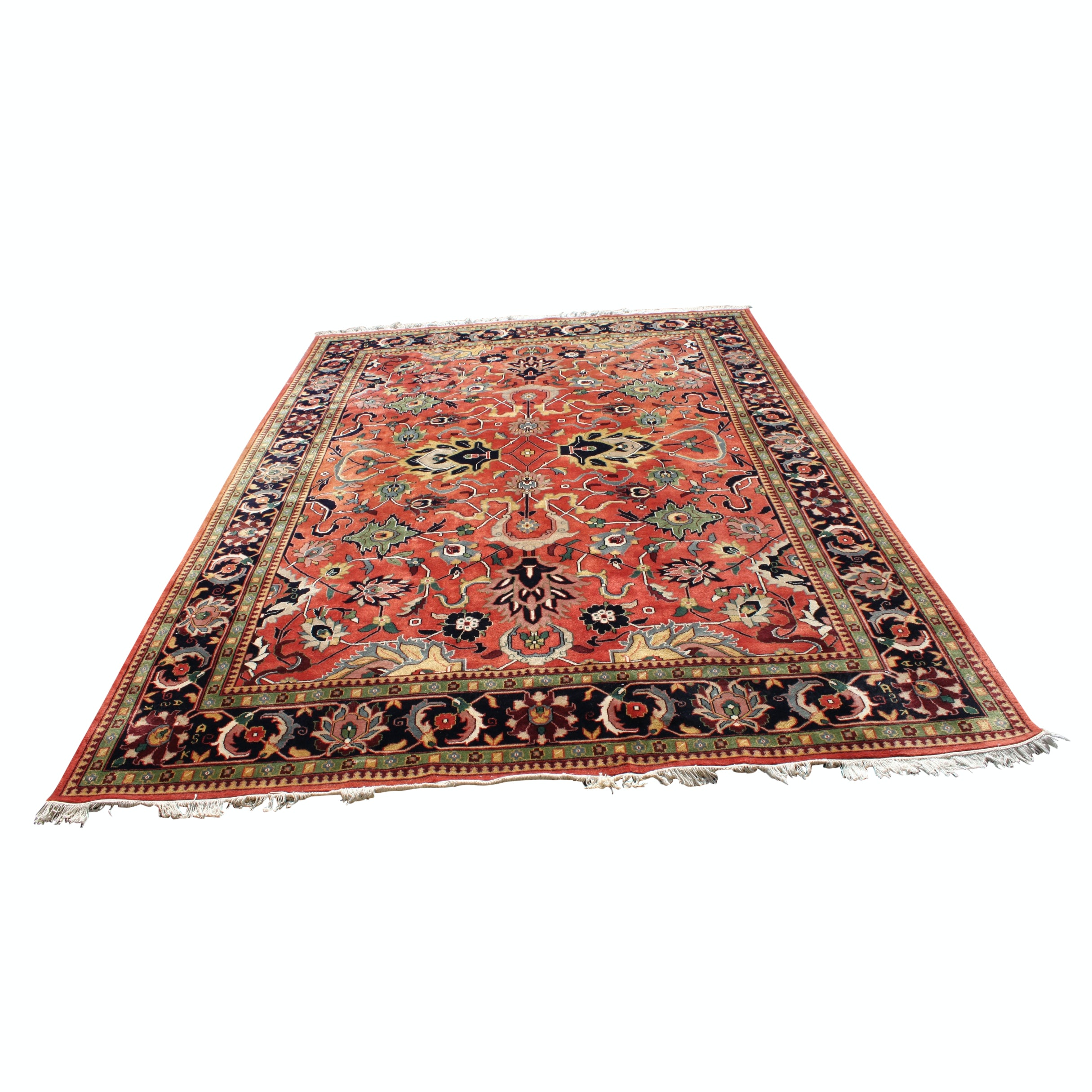 Power Loomed Inscribed Mashhad-Style Wool Room Size Rug
