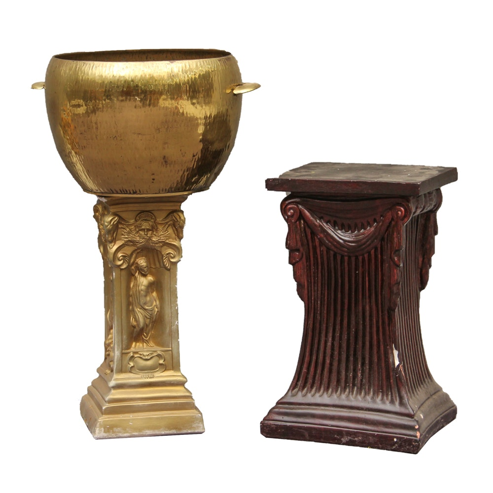 Brass-Tone Planter with Plaster Plant Stands