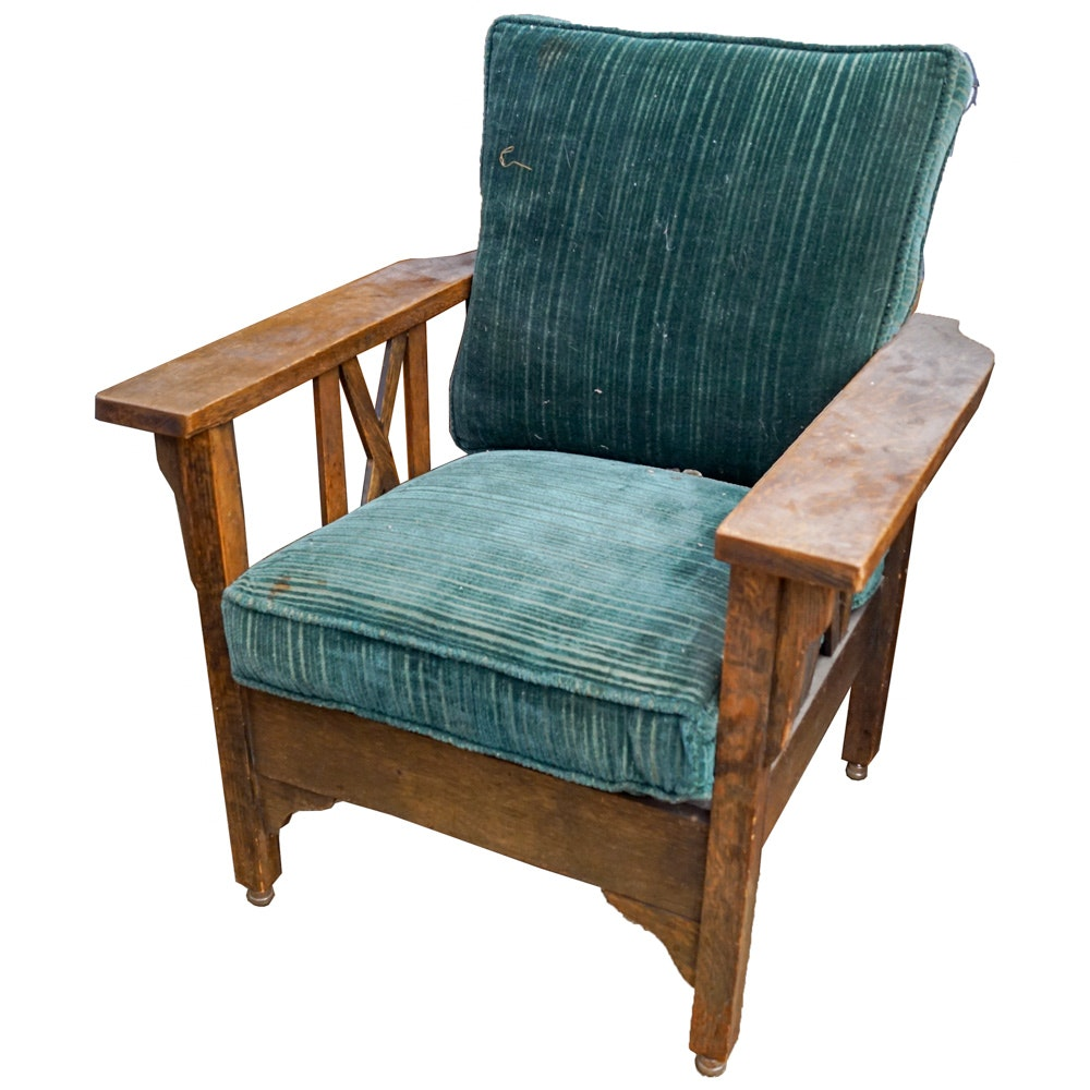 Vintage Mission Style Reclining Lounge Chair