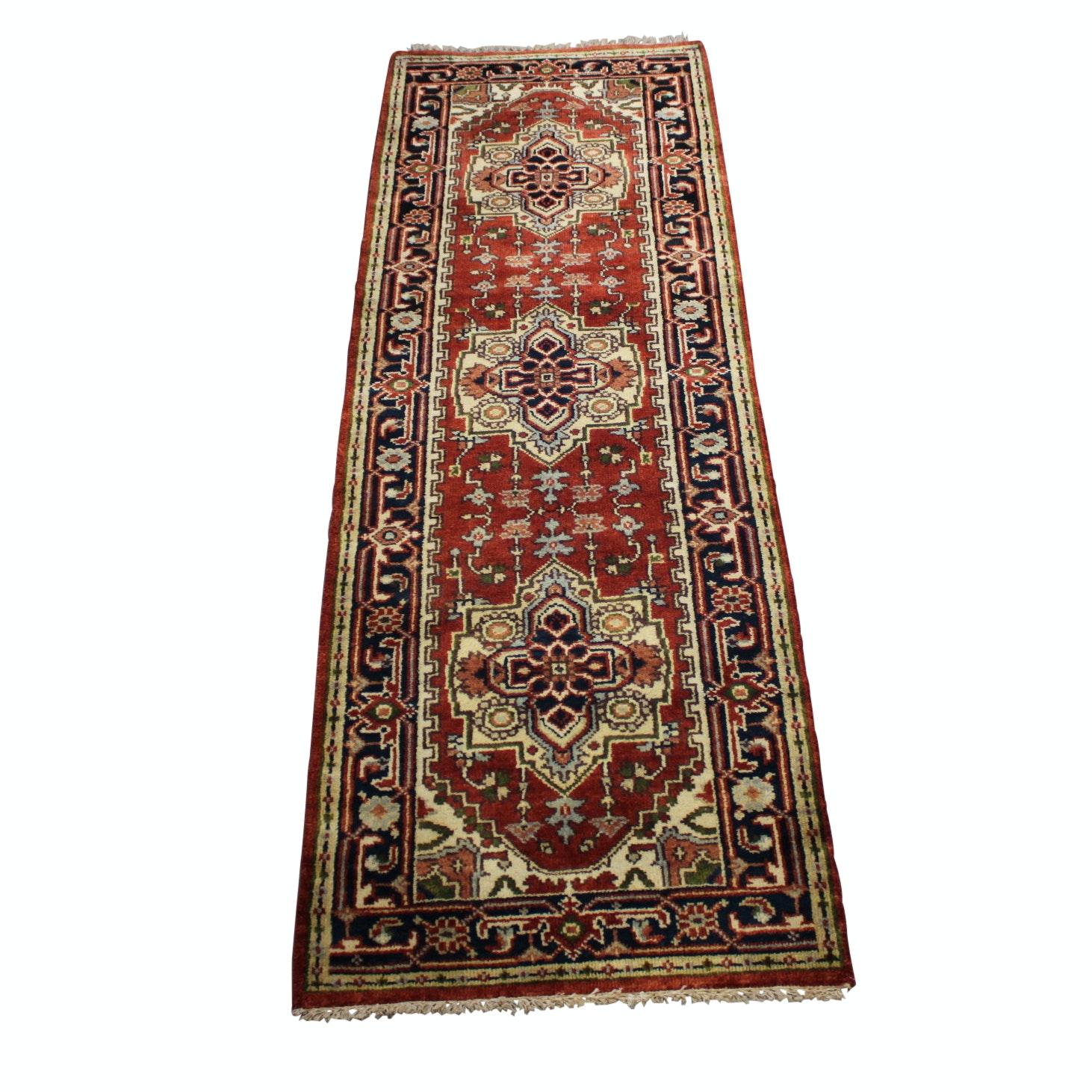 Hand-Knotted Indo-Persian Bakshaish Heriz Wool Carpet Runner