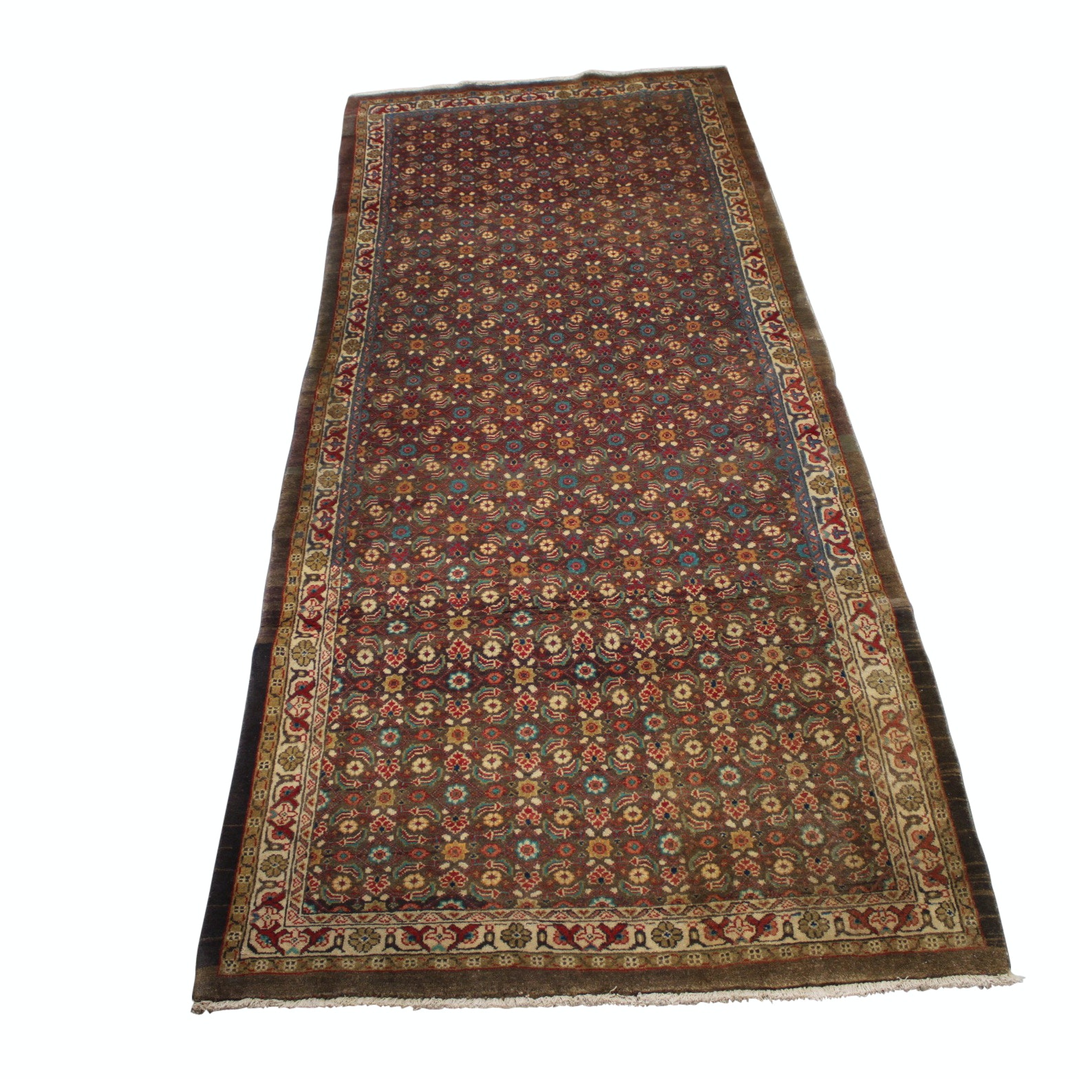 Hand-Knotted Persian Moud Bijar Wool Long Rug
