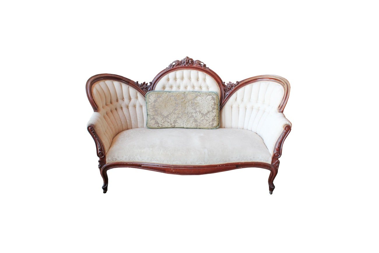 Antique Victorian Cameo Back Settee