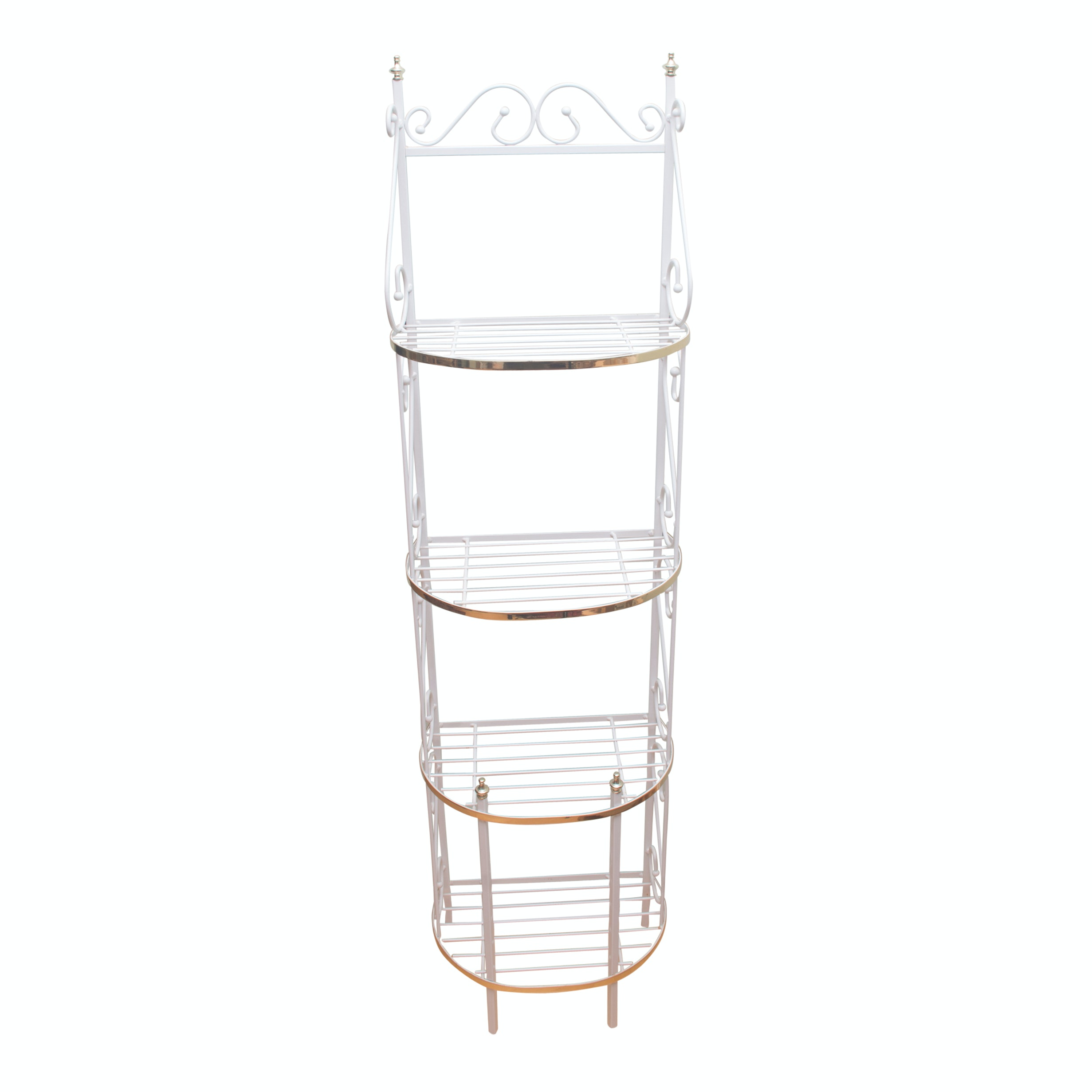 Scrolled White Metal Étagère with Brass Tone Accents