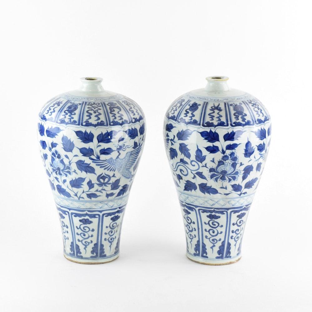 Blue and White Ceramic Chinese Phoenix Vases