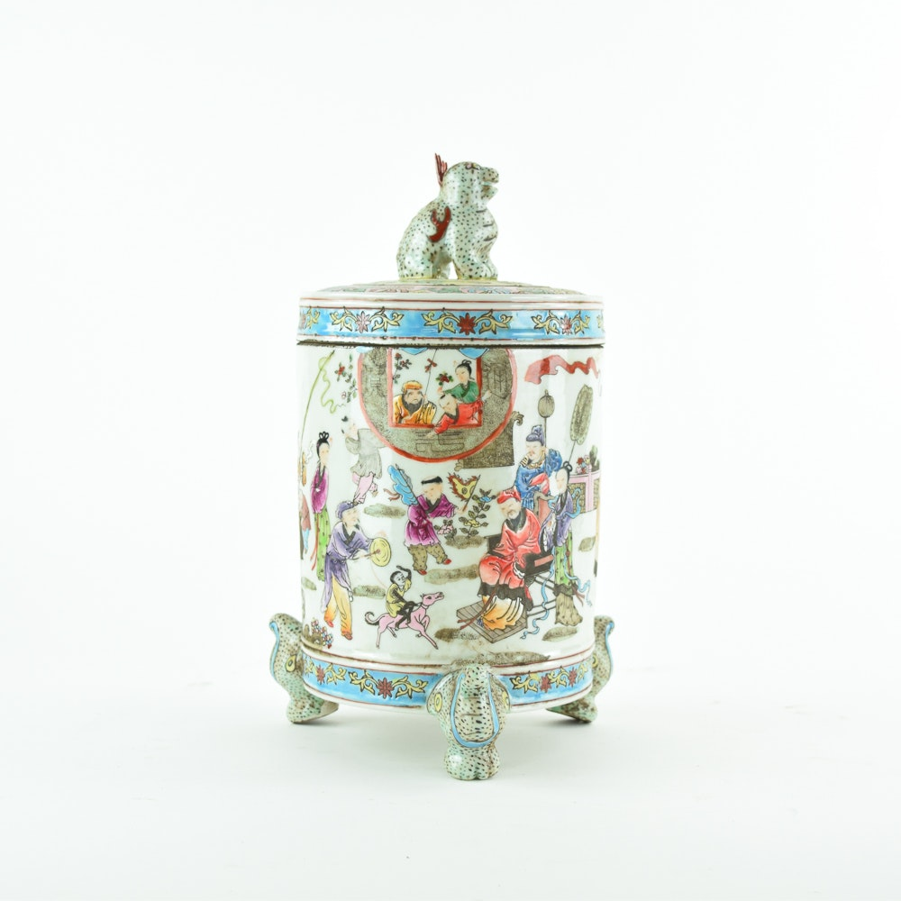 Chinese Hand Painted Porcelain Canister