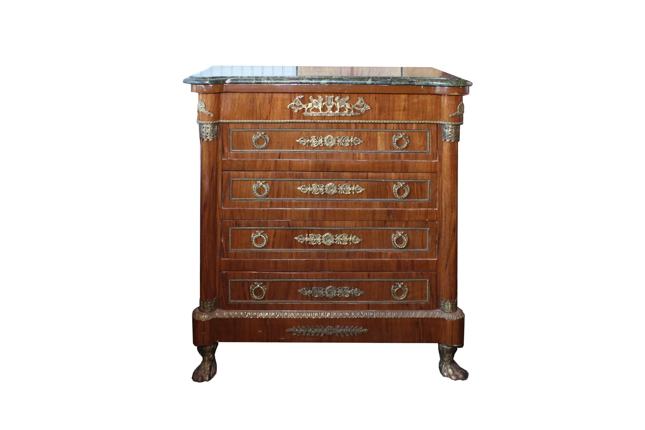 French Empire Style Chest of Drawers with Marble Top