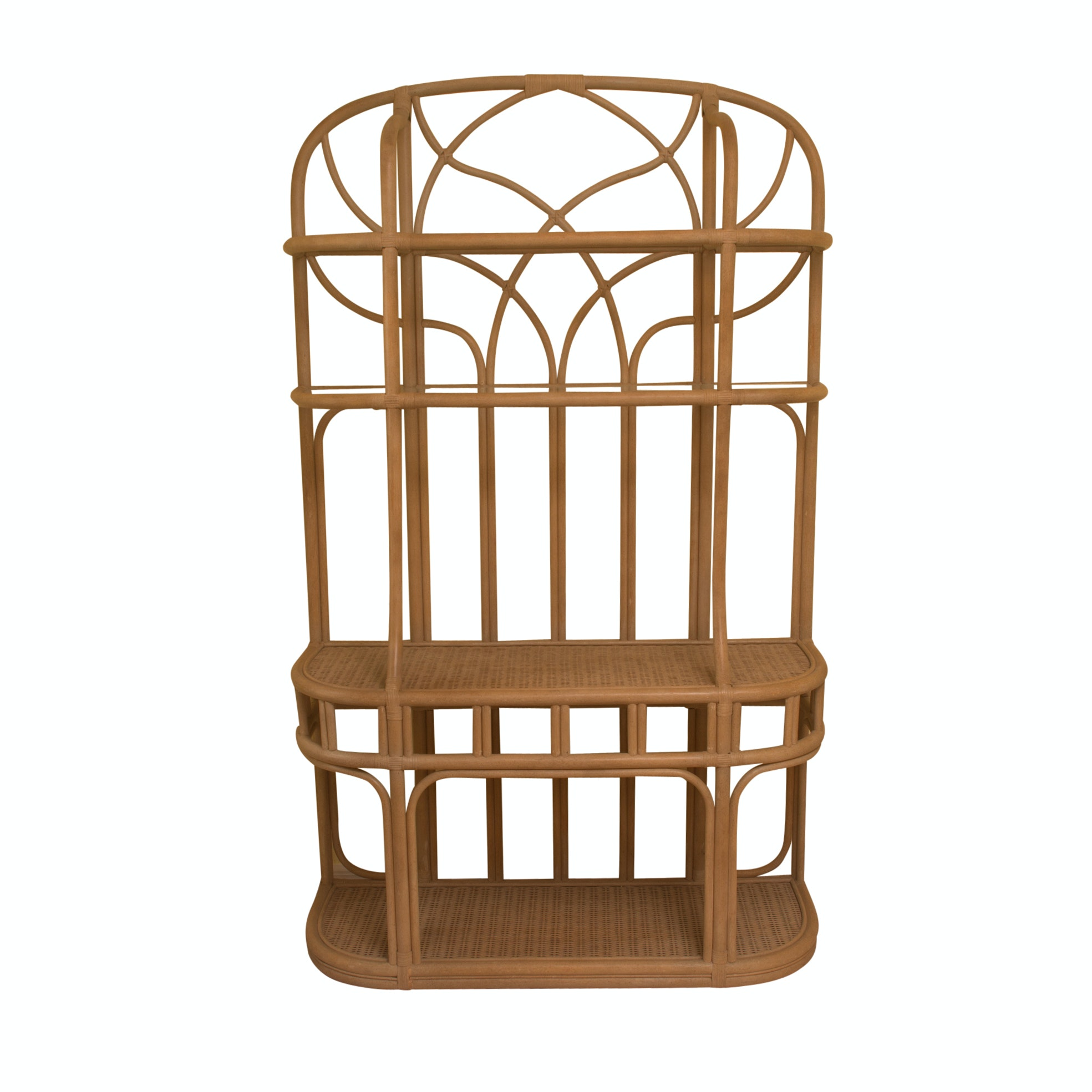 Rattan Étagère with Glass and Wicker Shelves