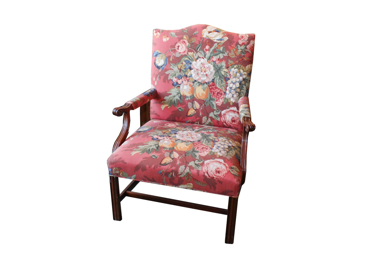 Chippendale Style Upholstered Library chair