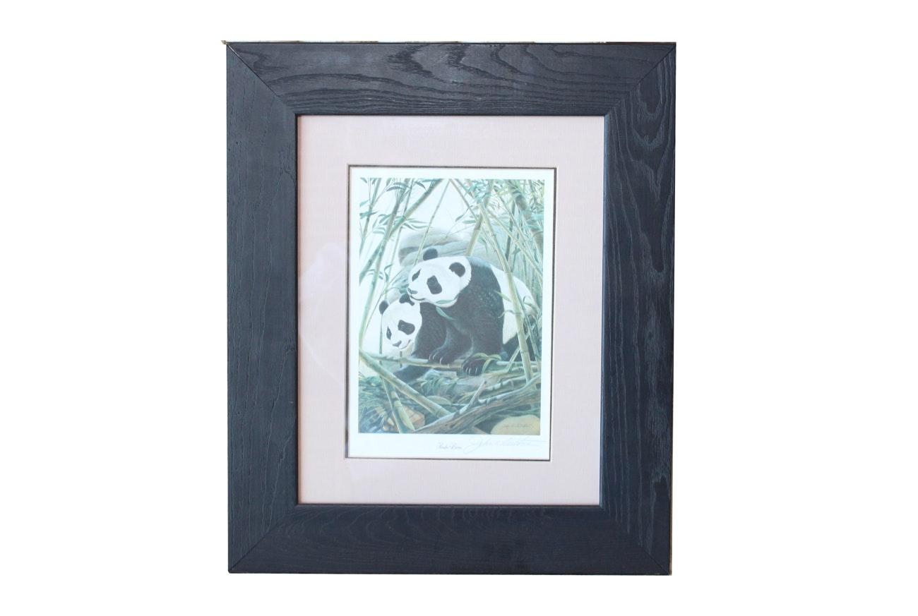 "John Ruthven Signed Offset Lithograph ""Panda Bears"""