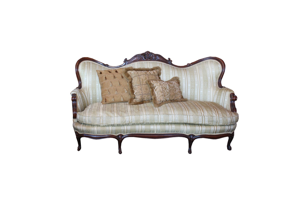 Antique Victorian Sofa with Down Upholstered Cushion