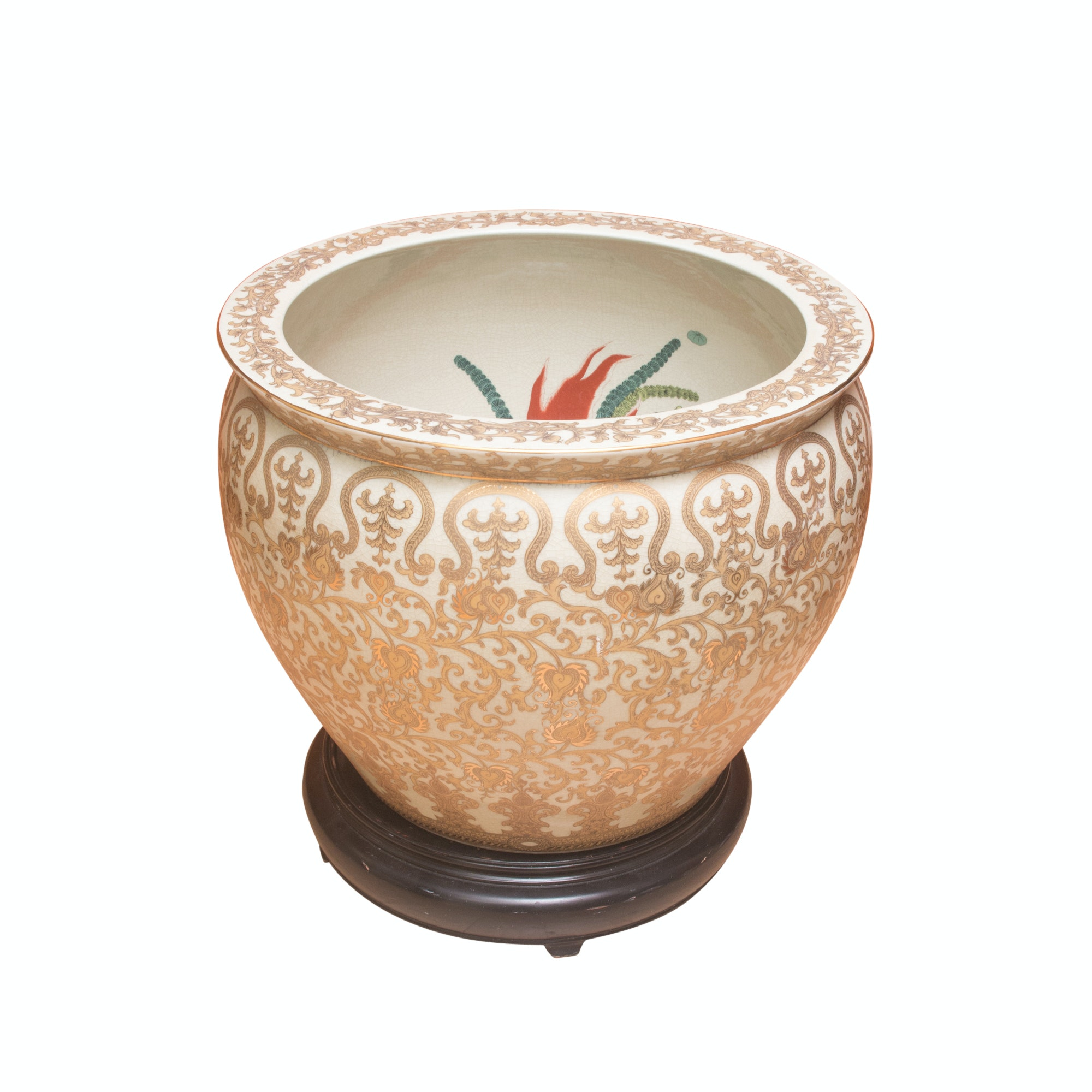 Chinese Gilded Scrollwork and Goldfish Ceramic Planter with Stand