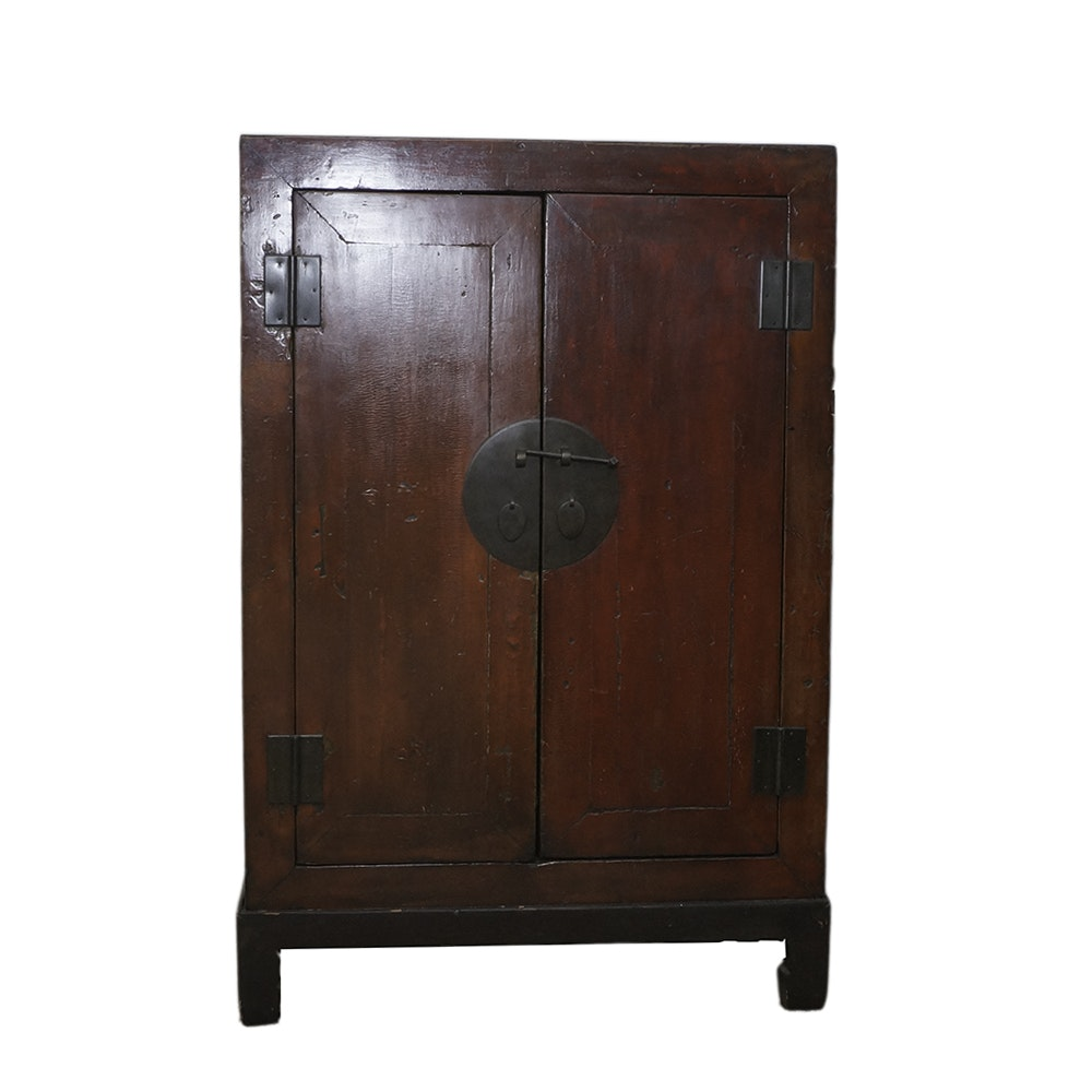 Antique Chinese Lacquered Cabinet on Stand