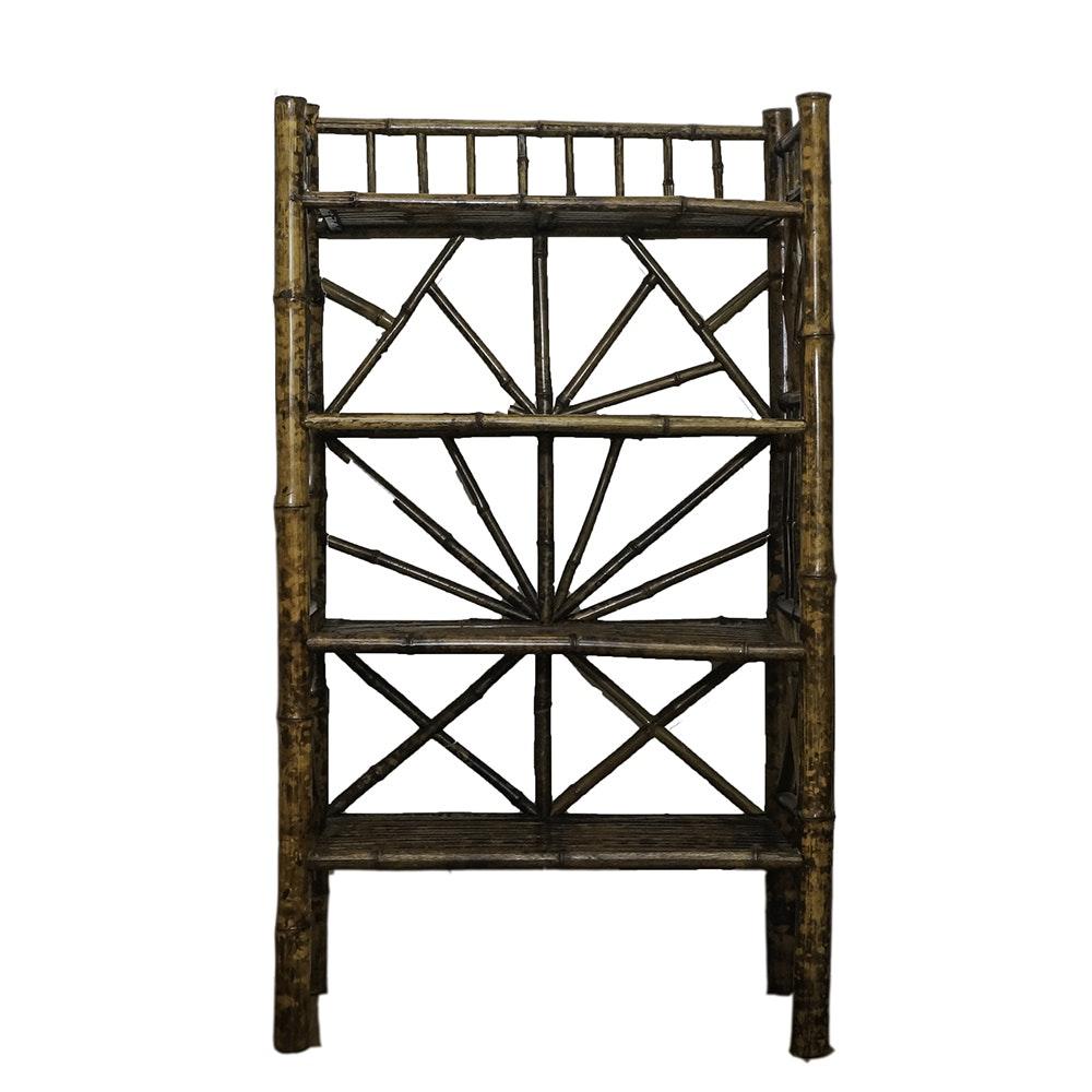 Vintage Bamboo Wood Shelving Unit
