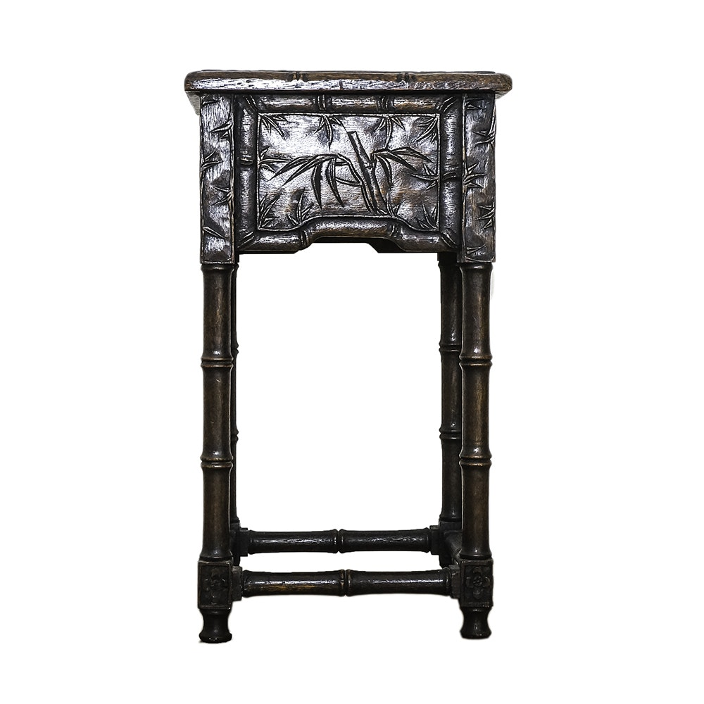 Chinese Bamboo Motif Carved Wood Plant Stand