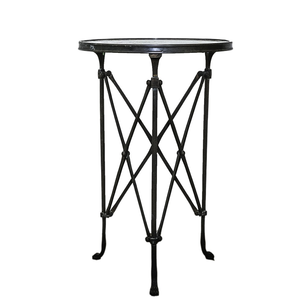 Neoclassical Style Metal Side Table with Granite Top