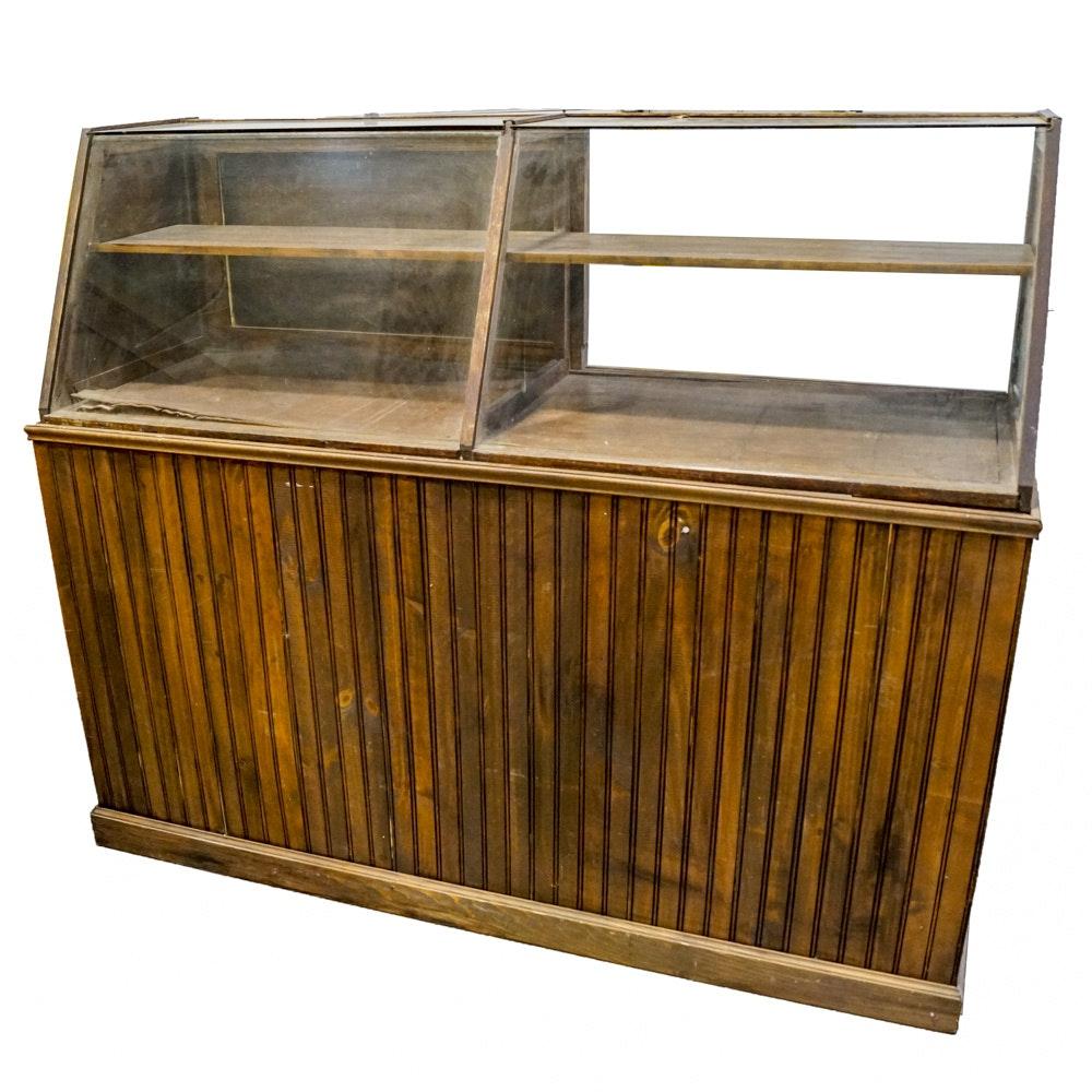 Vintage Slant Front Store Display Cabinet
