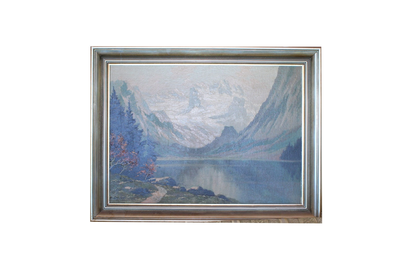 P. Werner Antique Oil Landscape on Board