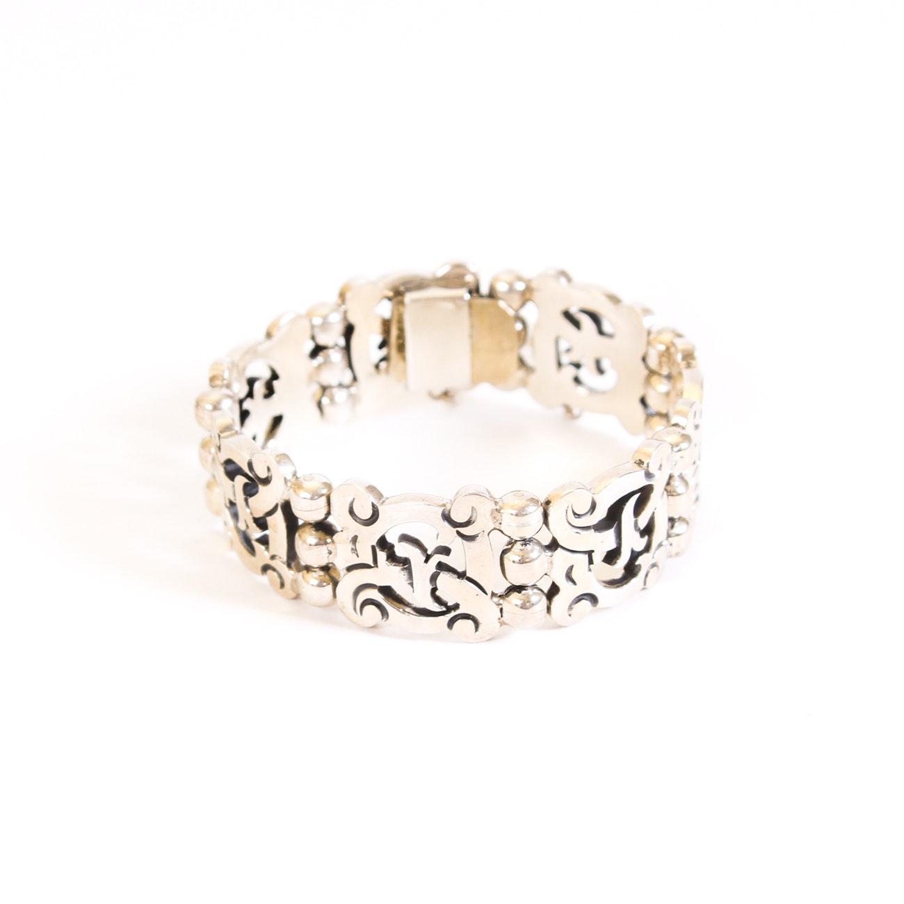 Sterling Silver Pierced Link Bracelet