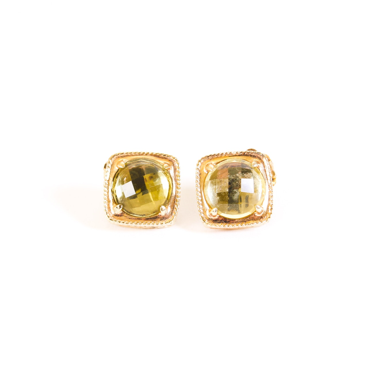Sterling Silver Gold-Tone Citrine Earrings